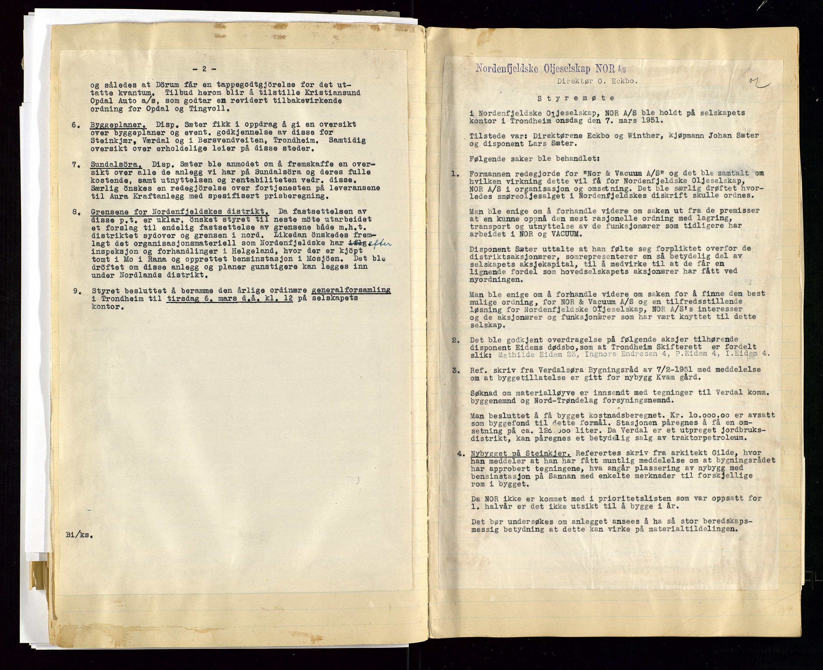 SAST, PA 1519 - Nordenfjeldske Oljeselskap, NOR A/S, A/L0001: Styreprotokoll, 1937-1962, s. 90