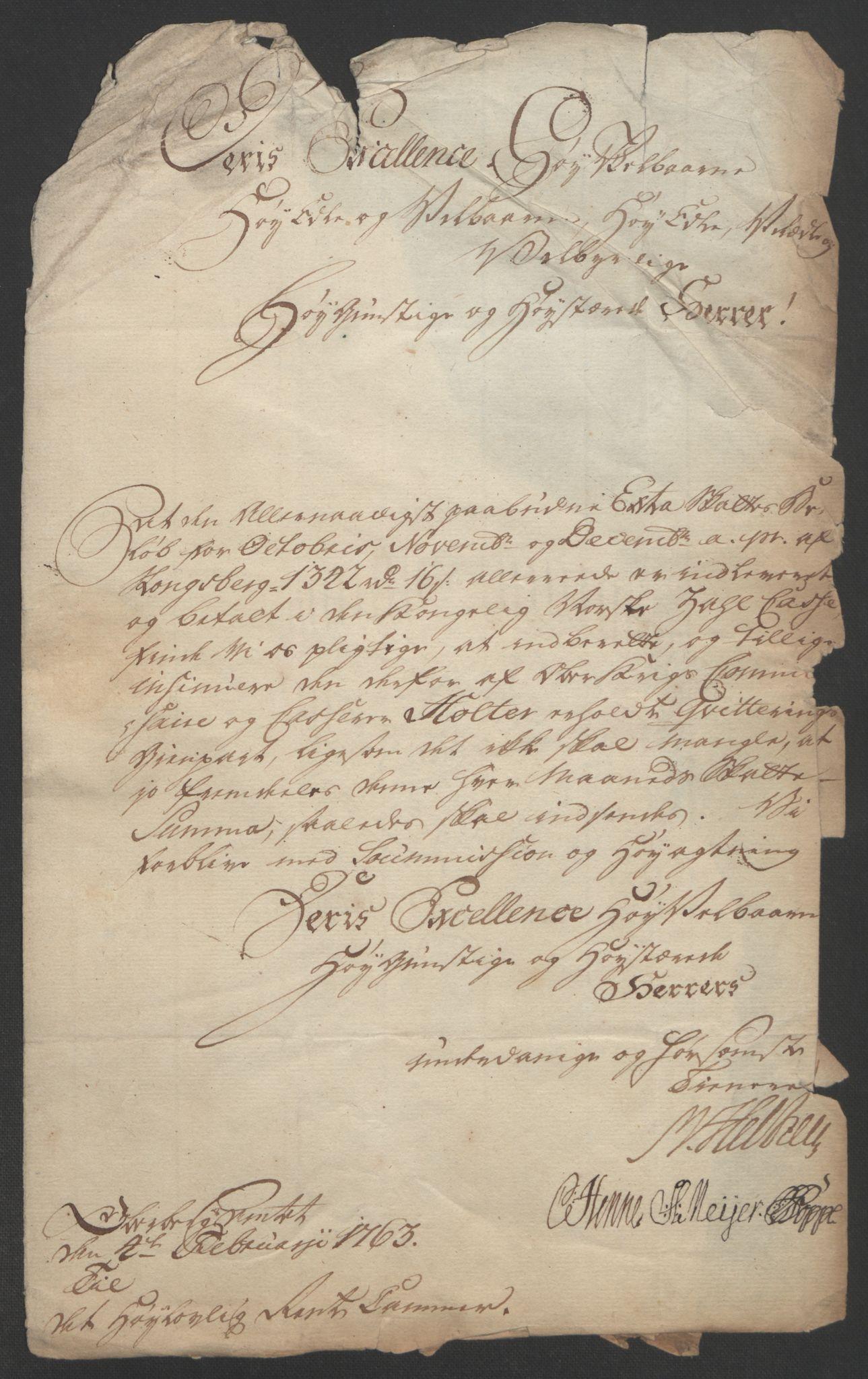 RA, Rentekammeret inntil 1814, Reviderte regnskaper, Bergverksregnskaper, R/Rc/Rca/L0843: Ekstraskatt, 1762-1765, s. 1122