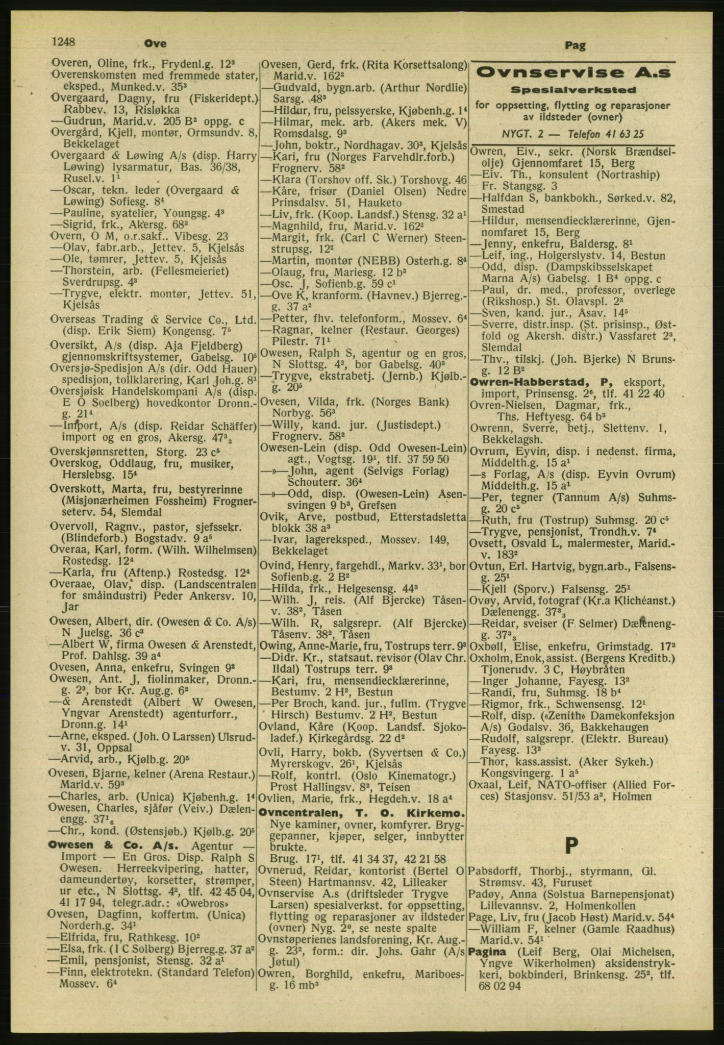 PUBL, Kristiania/Oslo adressebok, 1954, s. 1248