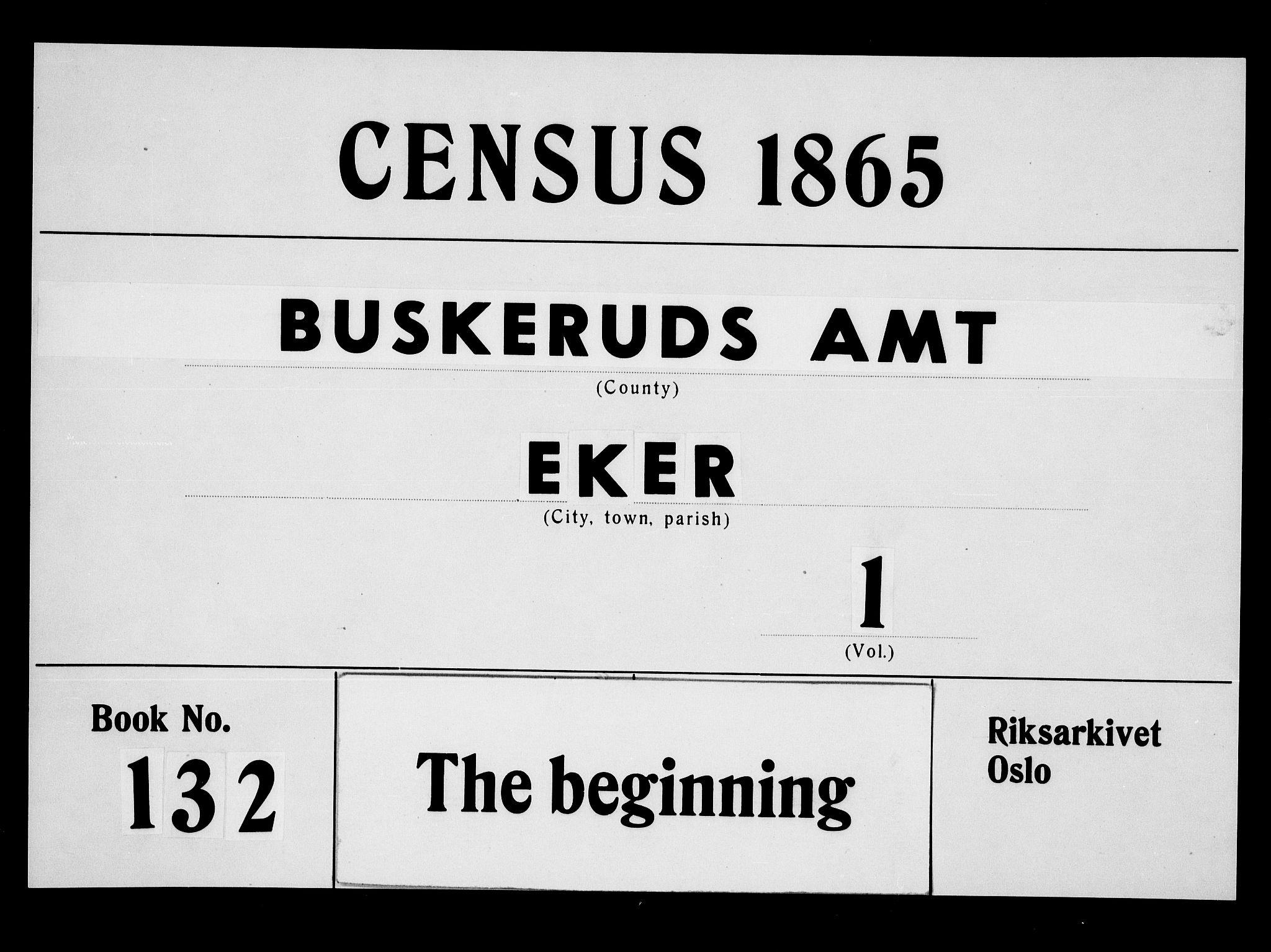 RA, Folketelling 1865 for 0624P Eiker prestegjeld, 1865, s. 1