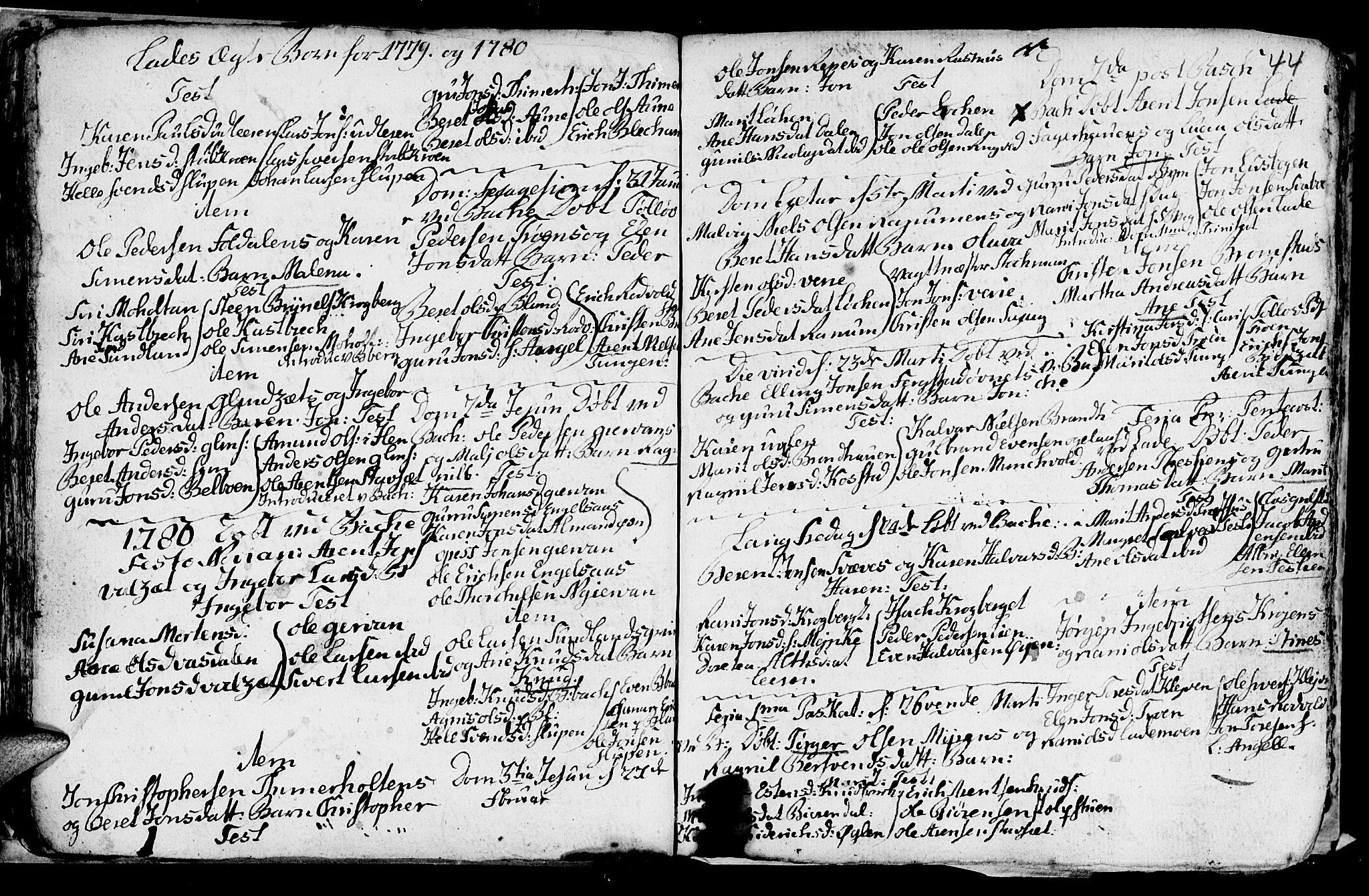SAT, Ministerialprotokoller, klokkerbøker og fødselsregistre - Sør-Trøndelag, 606/L0305: Klokkerbok nr. 606C01, 1757-1819, s. 44