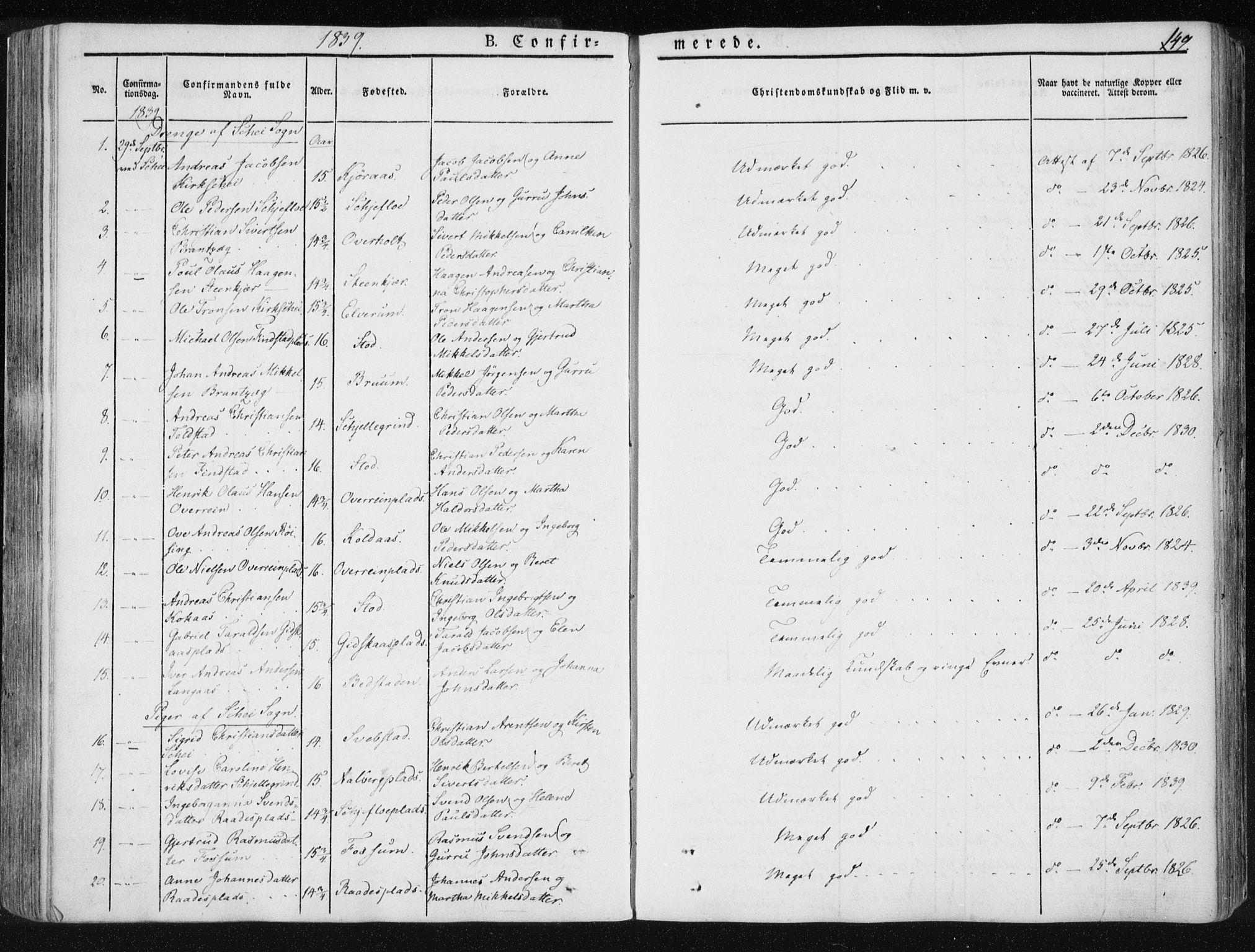 SAT, Ministerialprotokoller, klokkerbøker og fødselsregistre - Nord-Trøndelag, 735/L0339: Ministerialbok nr. 735A06 /1, 1836-1848, s. 149