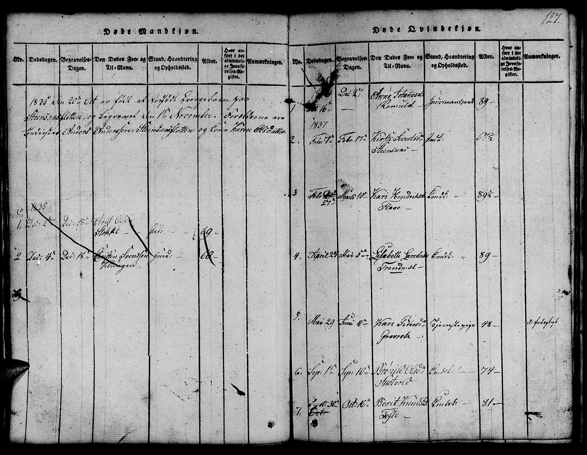 SAT, Ministerialprotokoller, klokkerbøker og fødselsregistre - Sør-Trøndelag, 691/L1092: Klokkerbok nr. 691C03, 1816-1852, s. 127