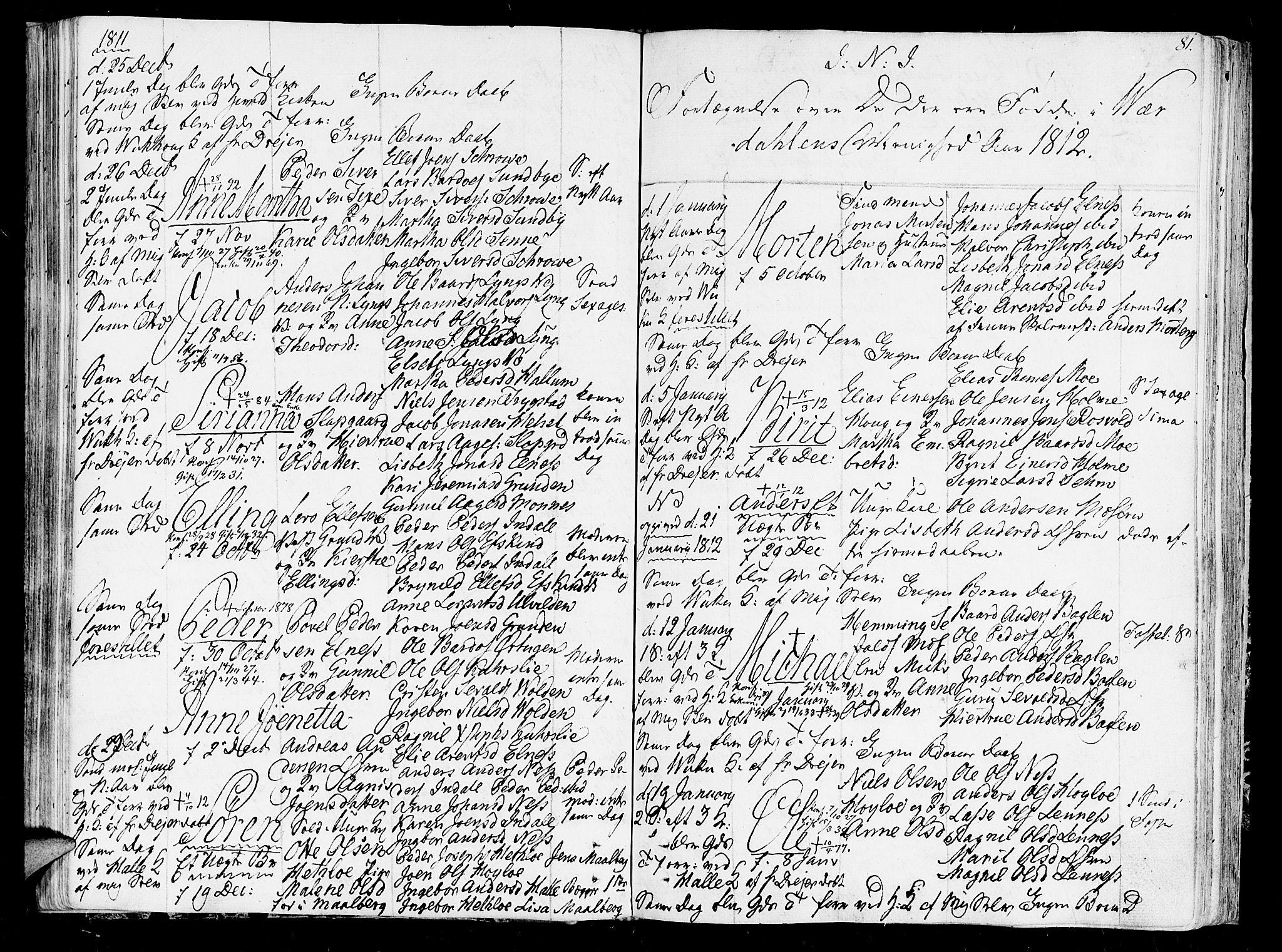 SAT, Ministerialprotokoller, klokkerbøker og fødselsregistre - Nord-Trøndelag, 723/L0233: Ministerialbok nr. 723A04, 1805-1816, s. 81