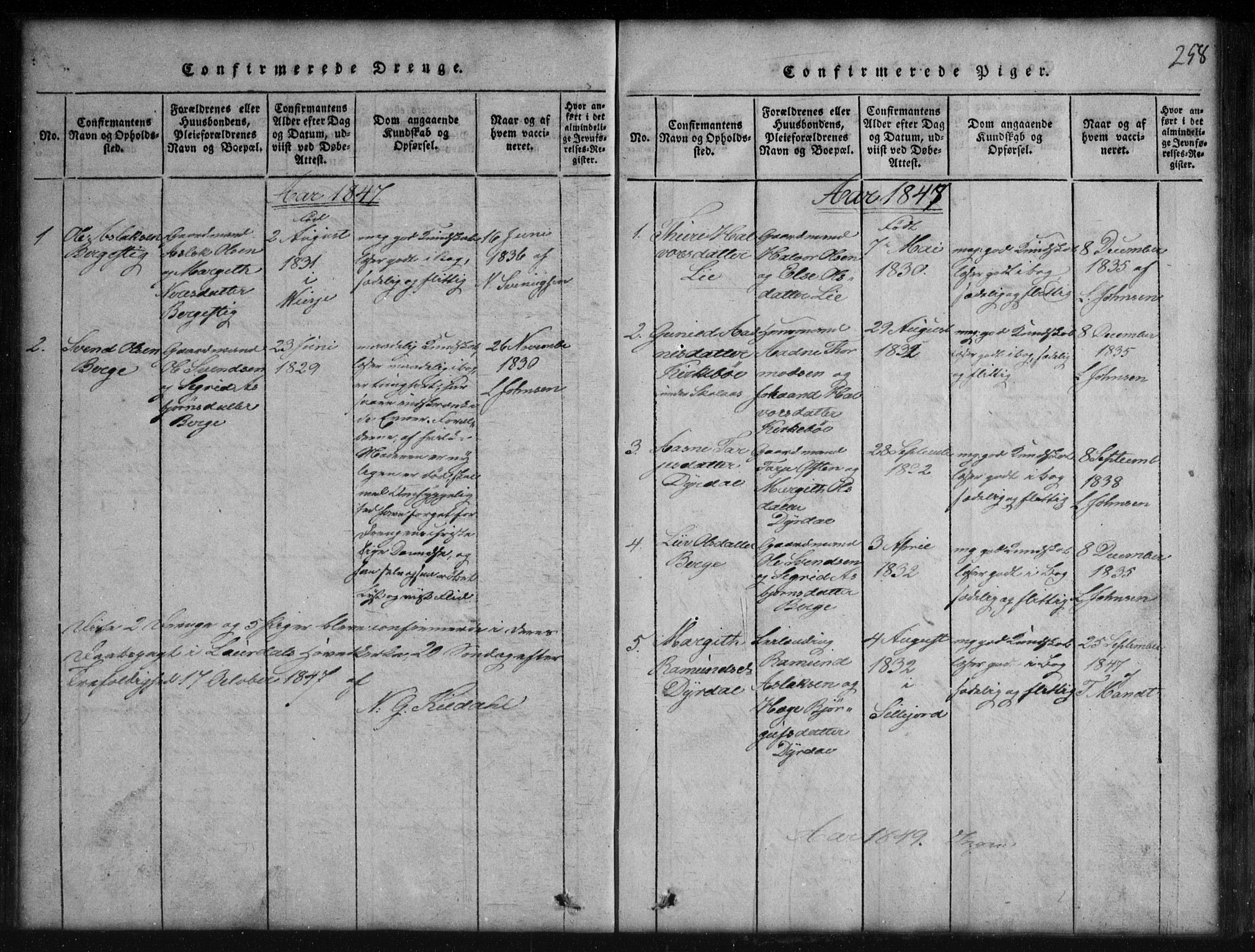 SAKO, Rauland kirkebøker, G/Gb/L0001: Klokkerbok nr. II 1, 1815-1886, s. 258