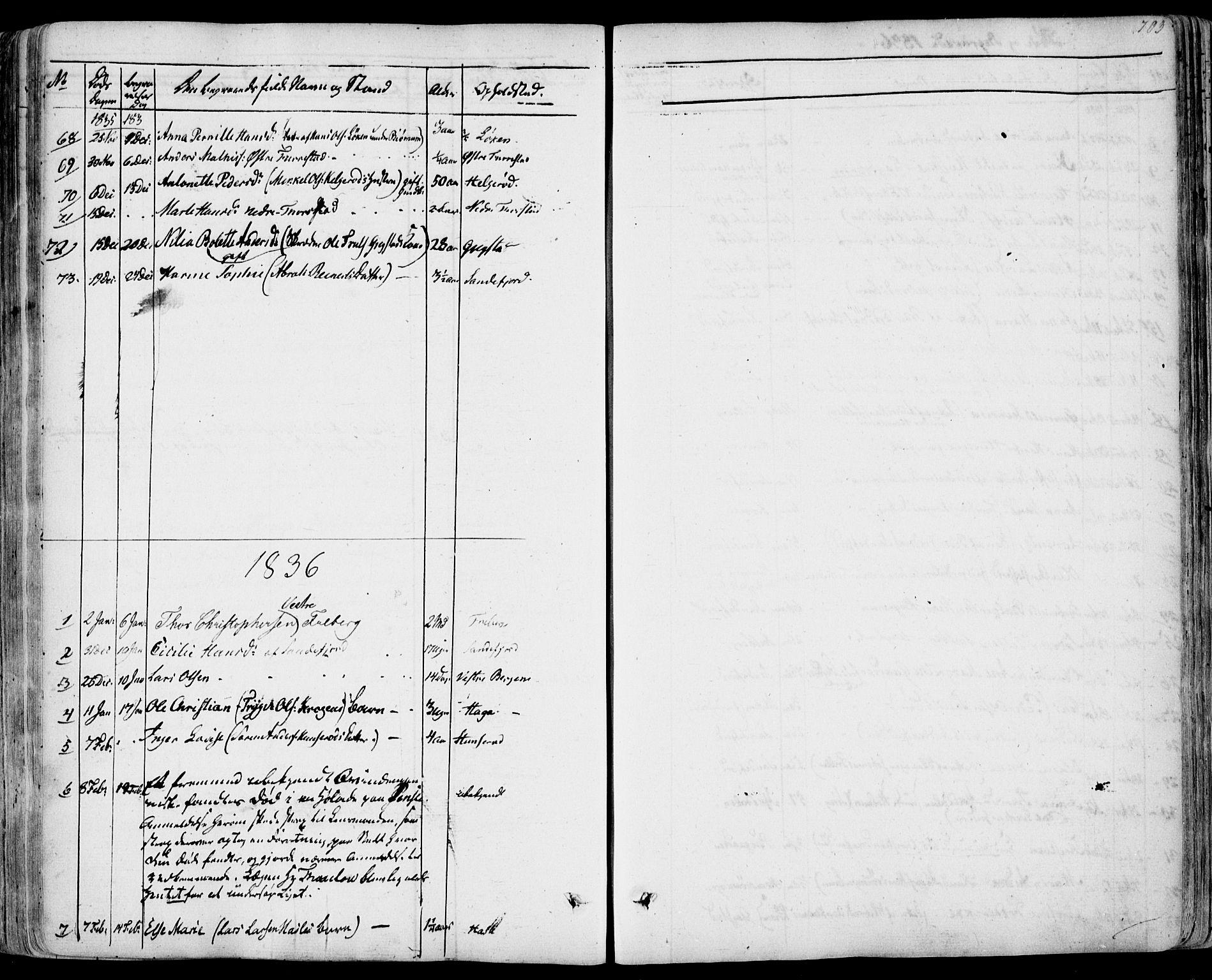 SAKO, Sandar kirkebøker, F/Fa/L0005: Ministerialbok nr. 5, 1832-1847, s. 702-703