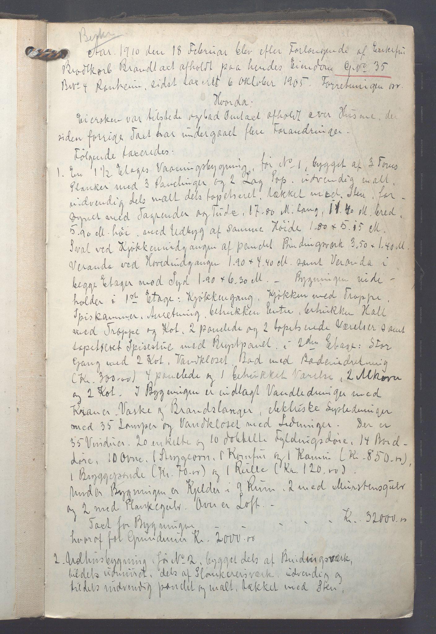 OBA, Lensmennene i Aker, F/Fa/L0015: Branntakstprotokoll, 1910-1912, s. 0a