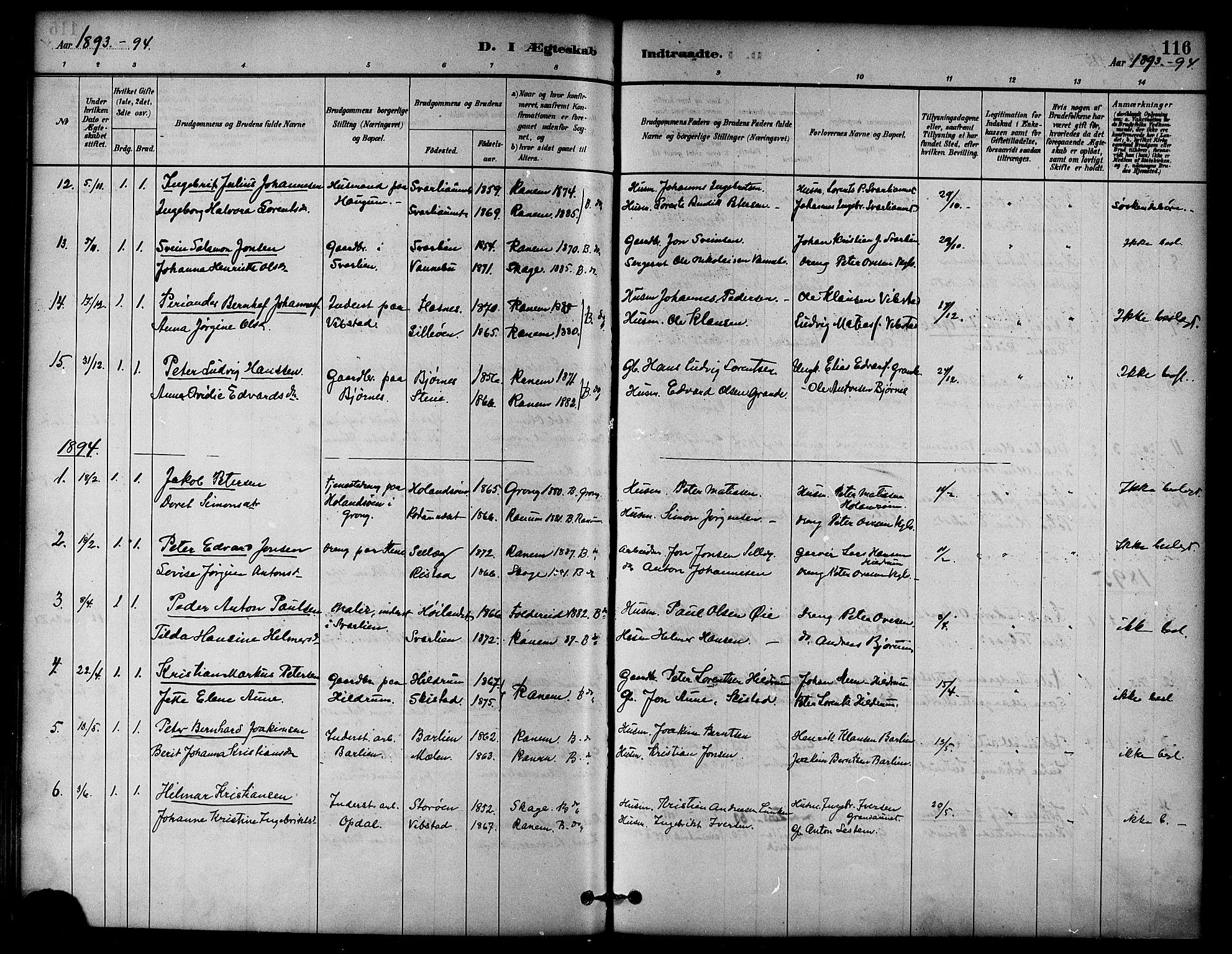 SAT, Ministerialprotokoller, klokkerbøker og fødselsregistre - Nord-Trøndelag, 764/L0555: Ministerialbok nr. 764A10, 1881-1896, s. 116
