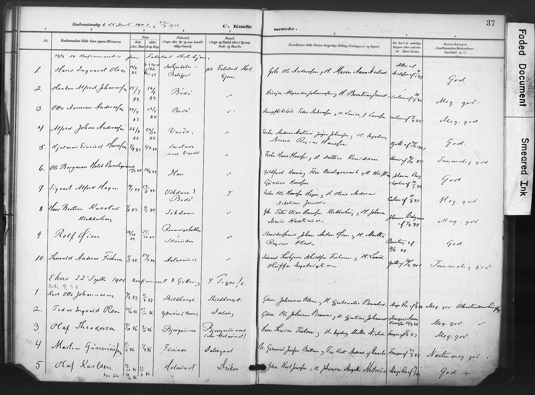 SAT, Ministerialprotokoller, klokkerbøker og fødselsregistre - Nord-Trøndelag, 719/L0179: Ministerialbok nr. 719A02, 1901-1923, s. 37