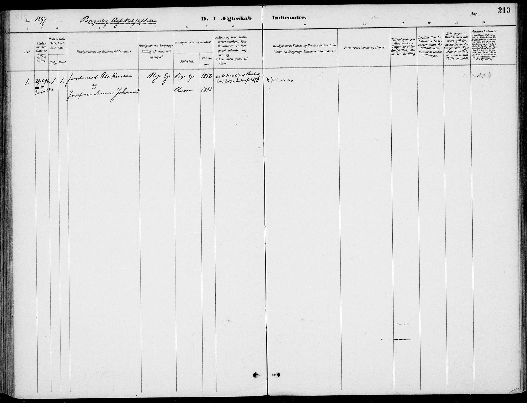 SAKO, Sigdal kirkebøker, F/Fb/L0001: Ministerialbok nr. II 1, 1888-1900, s. 213