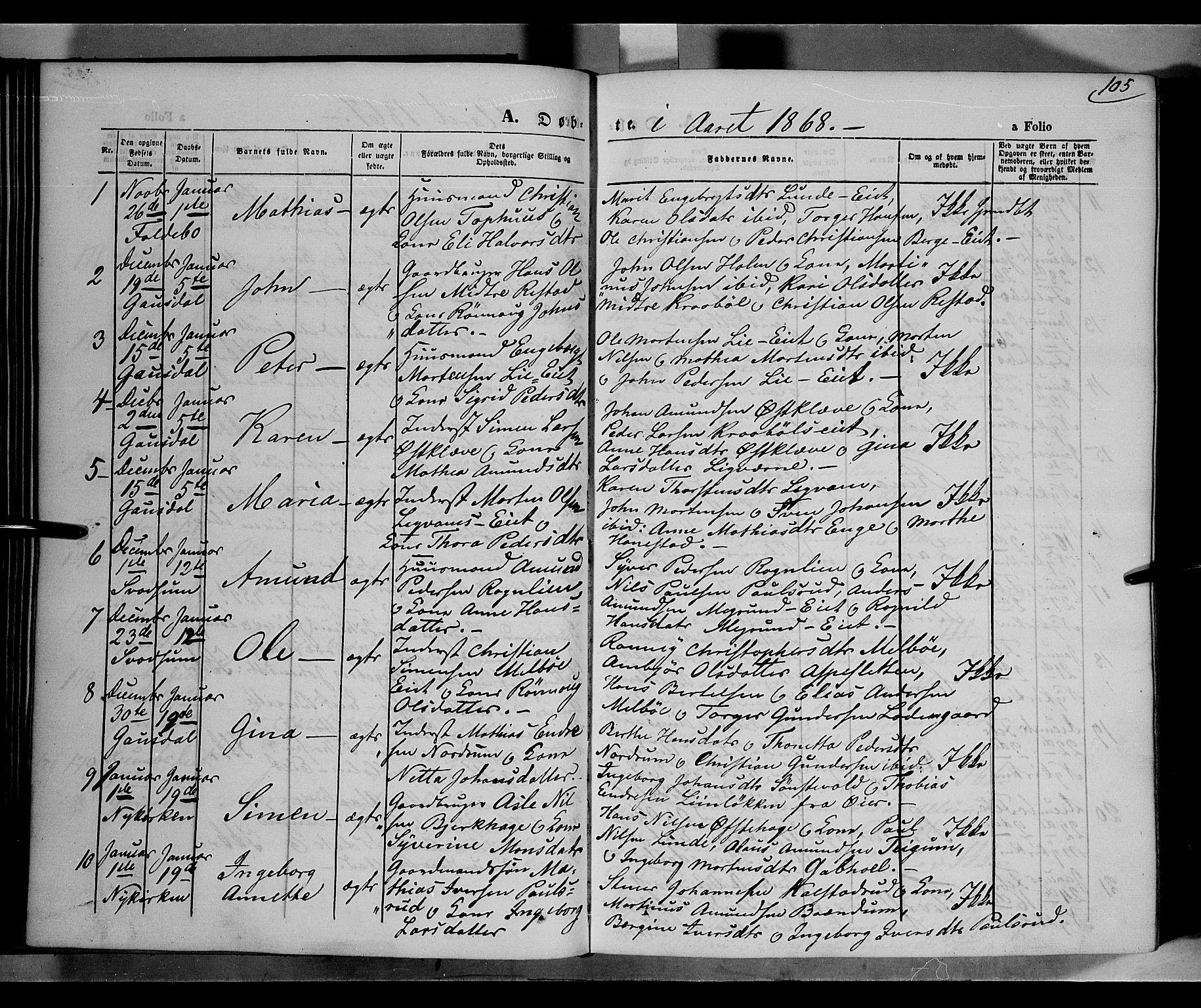 SAH, Gausdal prestekontor, Ministerialbok nr. 9, 1862-1873, s. 105