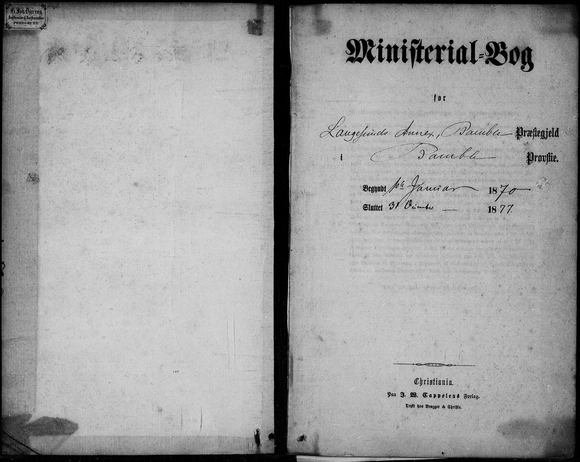 SAKO, Langesund kirkebøker, F/Fa/L0001: Ministerialbok nr. 1, 1870-1877