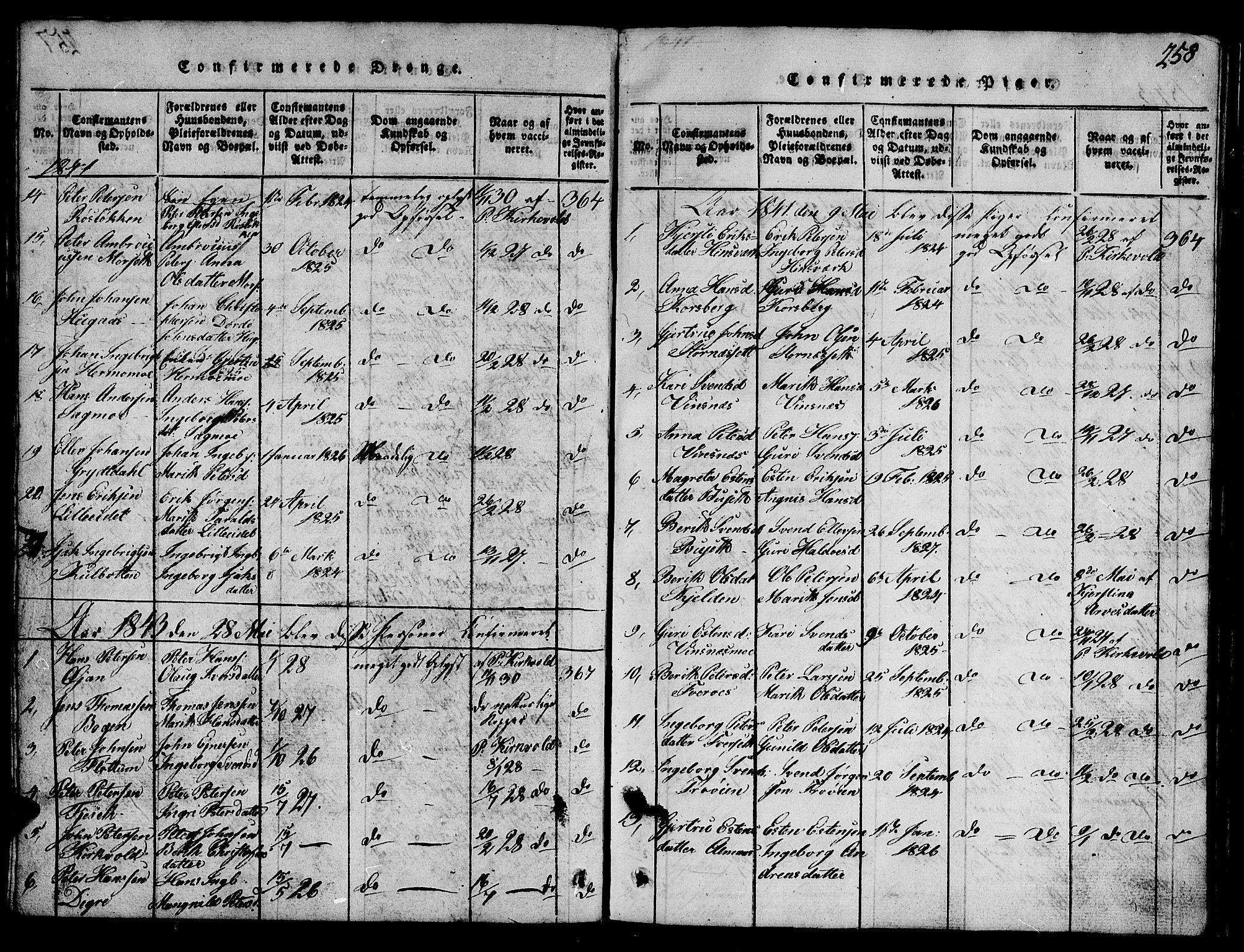 SAT, Ministerialprotokoller, klokkerbøker og fødselsregistre - Sør-Trøndelag, 688/L1026: Klokkerbok nr. 688C01, 1817-1860, s. 258