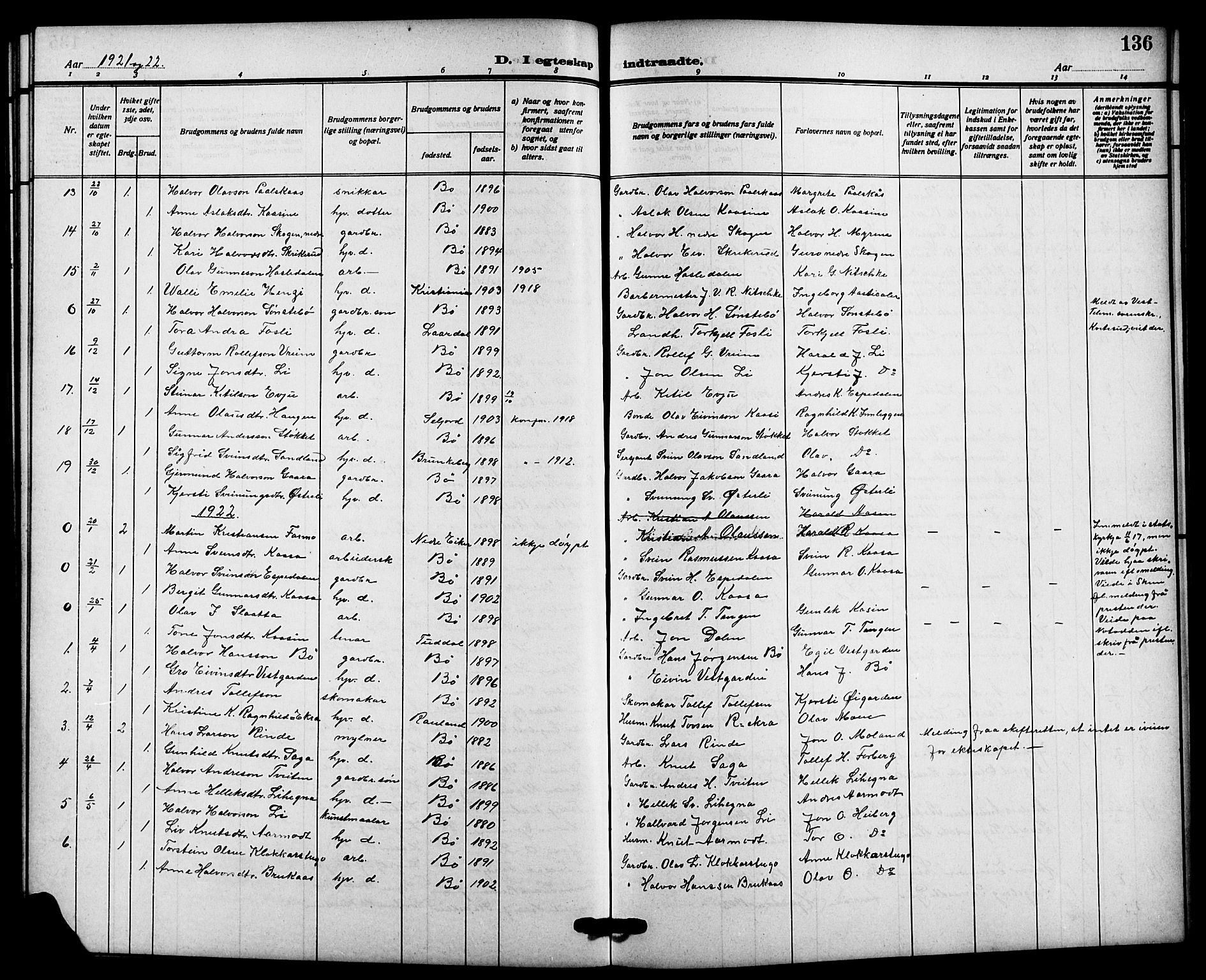 SAKO, Bø kirkebøker, G/Ga/L0007: Klokkerbok nr. 7, 1909-1924, s. 136