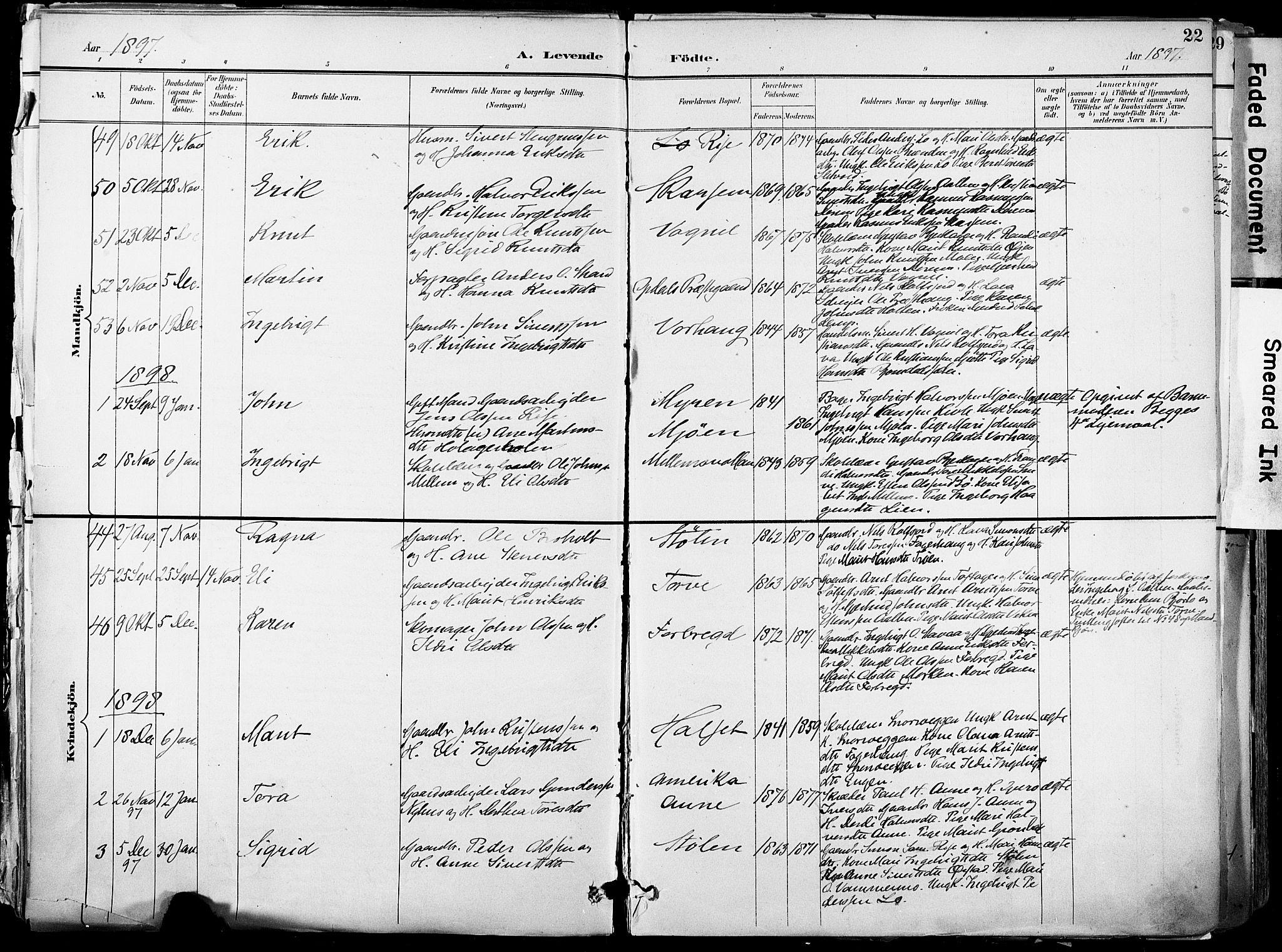 SAT, Ministerialprotokoller, klokkerbøker og fødselsregistre - Sør-Trøndelag, 678/L0902: Ministerialbok nr. 678A11, 1895-1911, s. 22