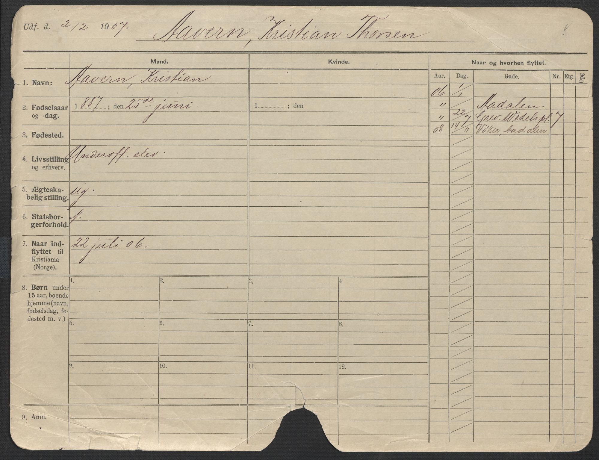 SAO, Oslo folkeregister, Registerkort, F/Fa/Fac/L0011: Menn, 1906-1914, s. 1268a