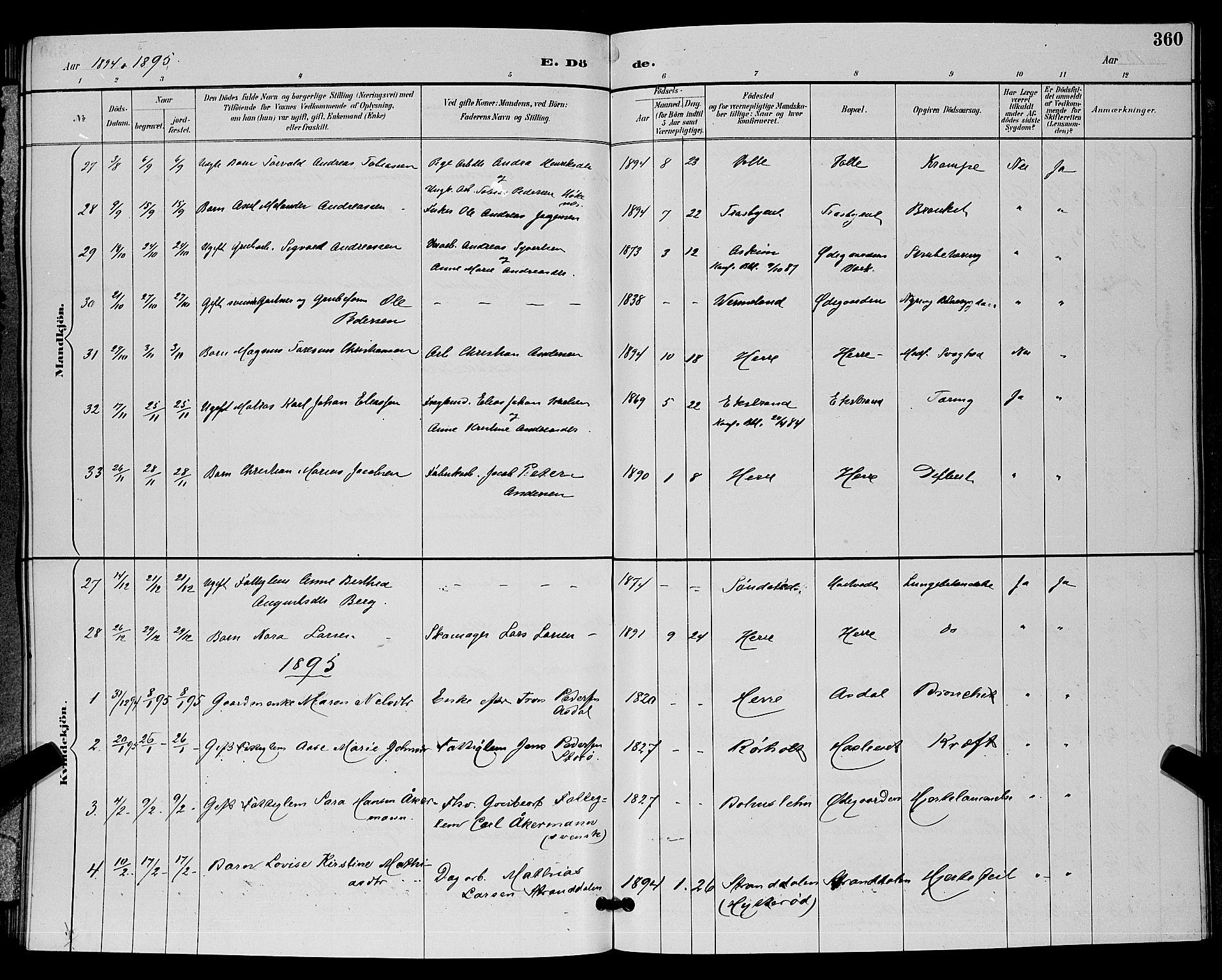SAKO, Bamble kirkebøker, G/Ga/L0009: Klokkerbok nr. I 9, 1888-1900, s. 360