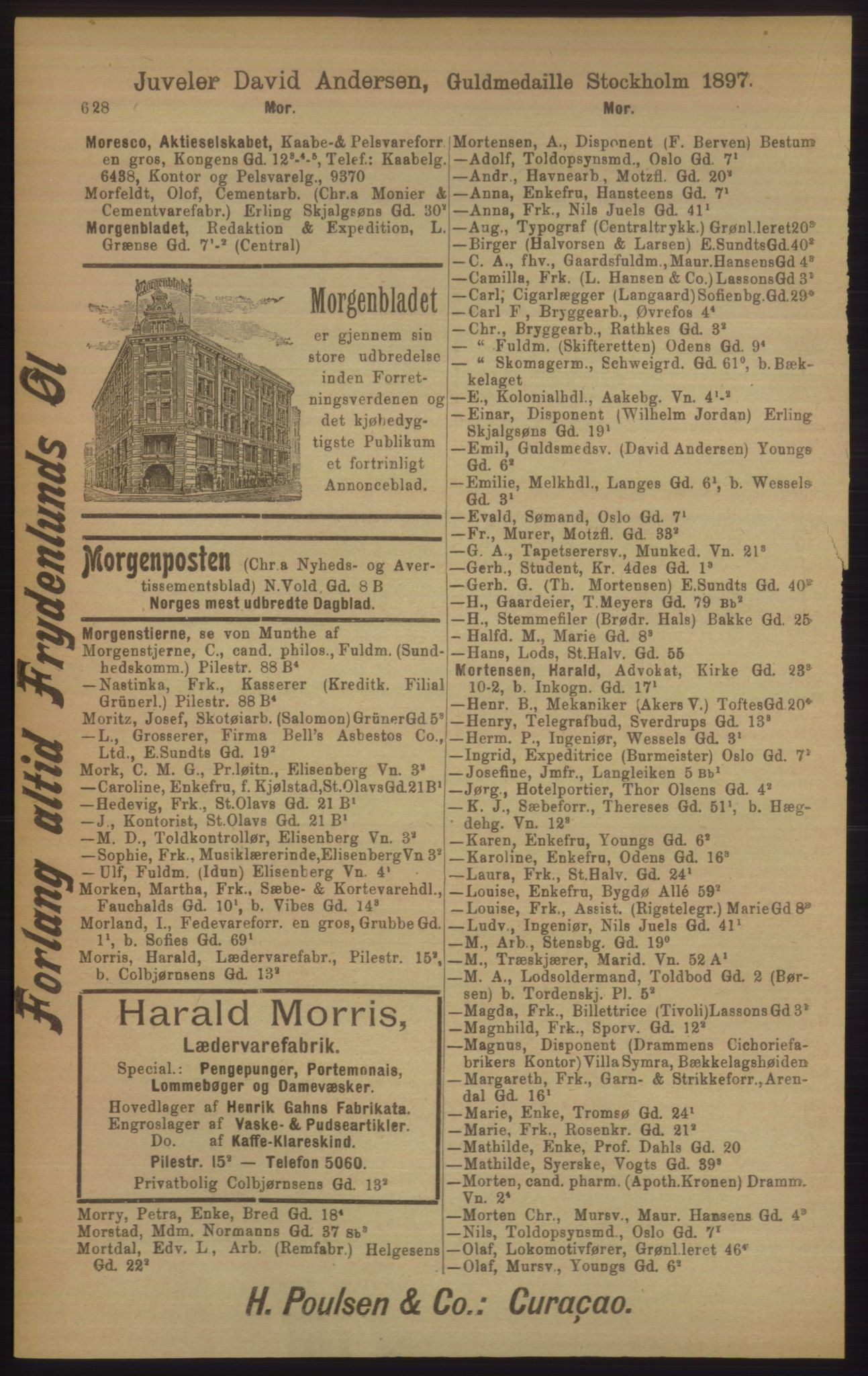 RA, Kristiania adressebok (publikasjon)*, 1906, s. 628