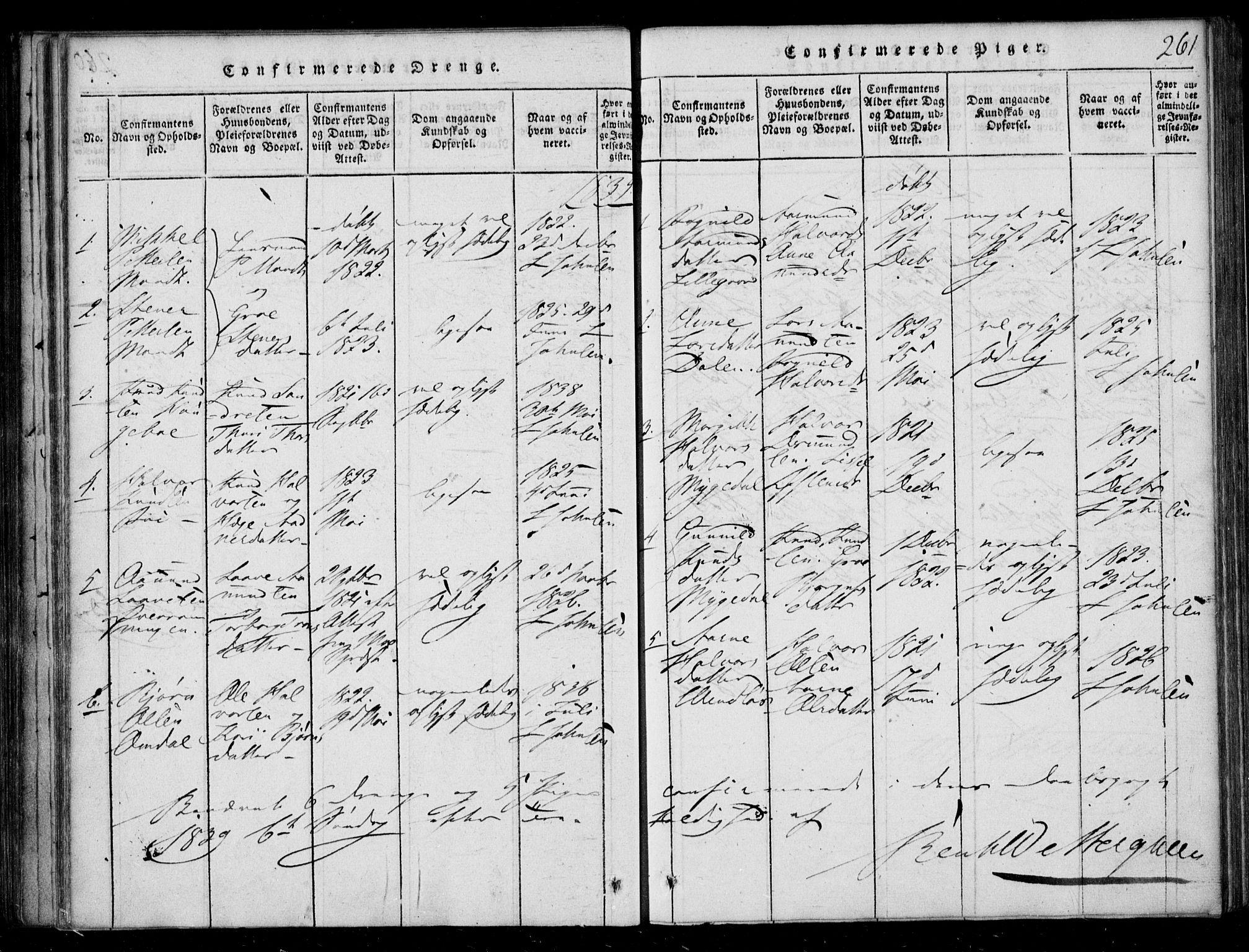 SAKO, Lårdal kirkebøker, F/Fb/L0001: Ministerialbok nr. II 1, 1815-1860, s. 261