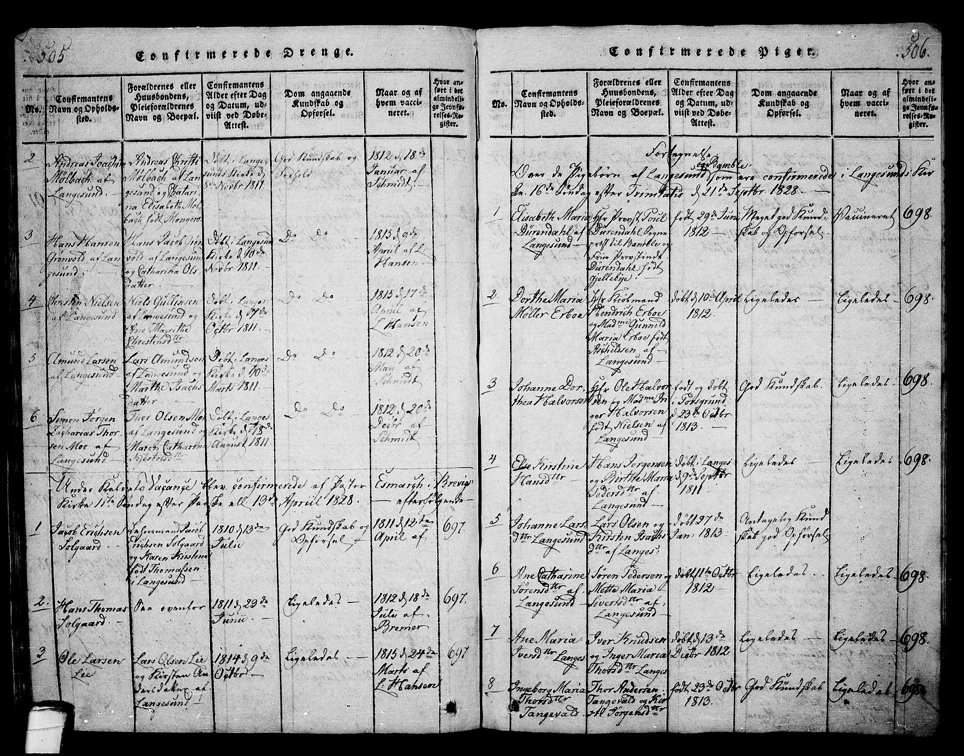 SAKO, Langesund kirkebøker, G/Ga/L0003: Klokkerbok nr. 3, 1815-1858, s. 505-506