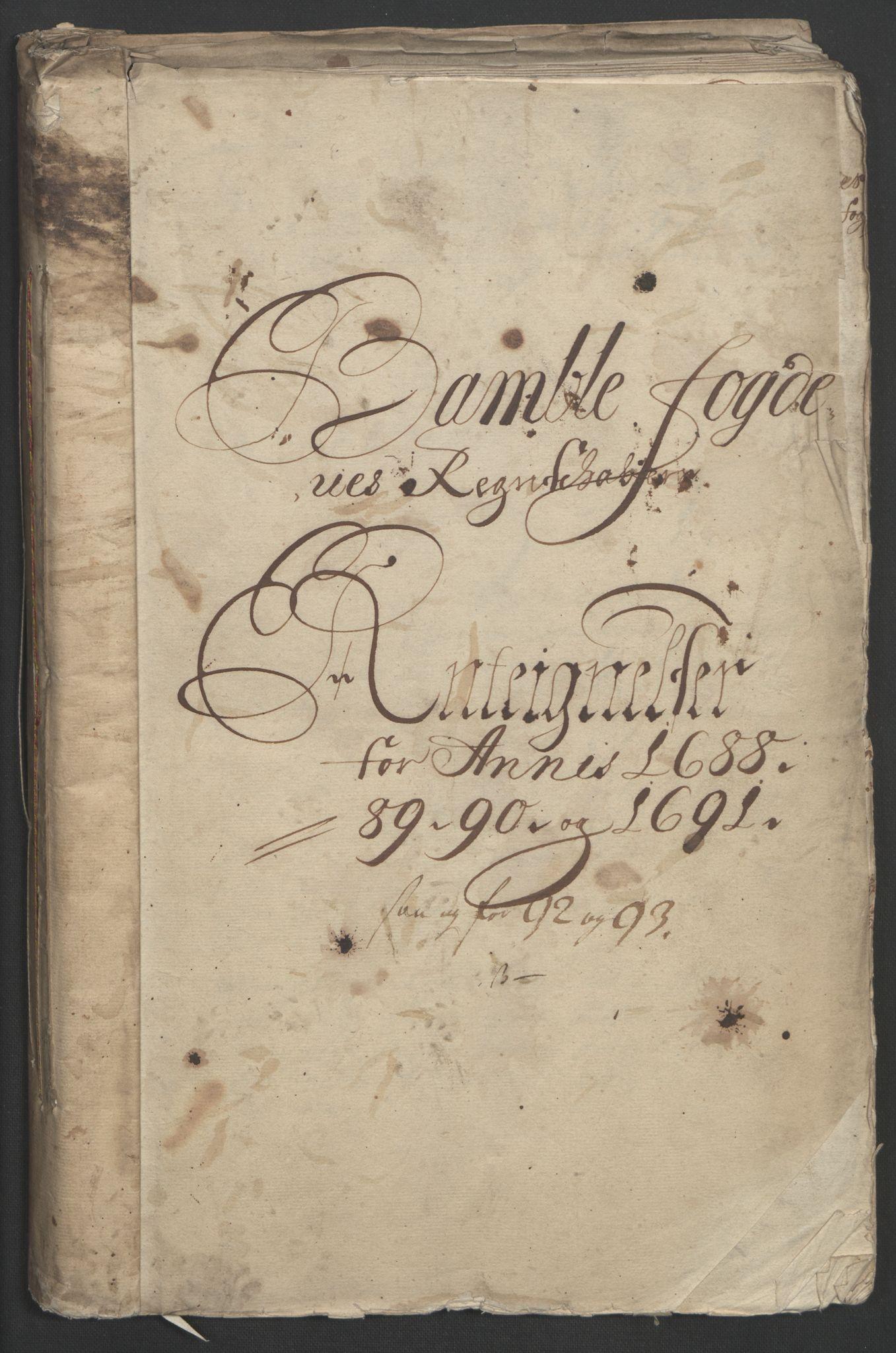 RA, Rentekammeret inntil 1814, Reviderte regnskaper, Fogderegnskap, R34/L2053: Fogderegnskap Bamble, 1693, s. 3