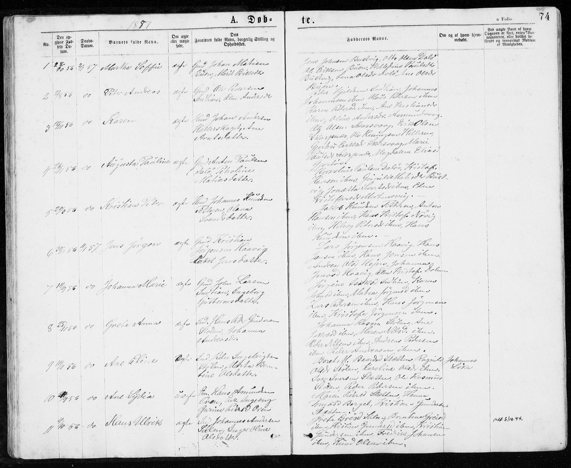 SAT, Ministerialprotokoller, klokkerbøker og fødselsregistre - Sør-Trøndelag, 640/L0576: Ministerialbok nr. 640A01, 1846-1876, s. 74