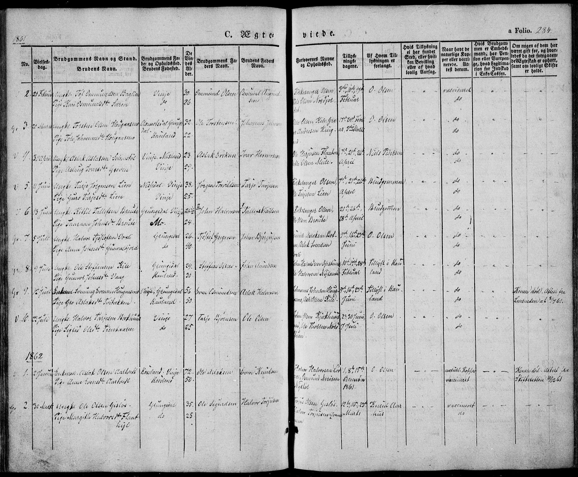 SAKO, Vinje kirkebøker, F/Fa/L0004: Ministerialbok nr. I 4, 1843-1869, s. 284
