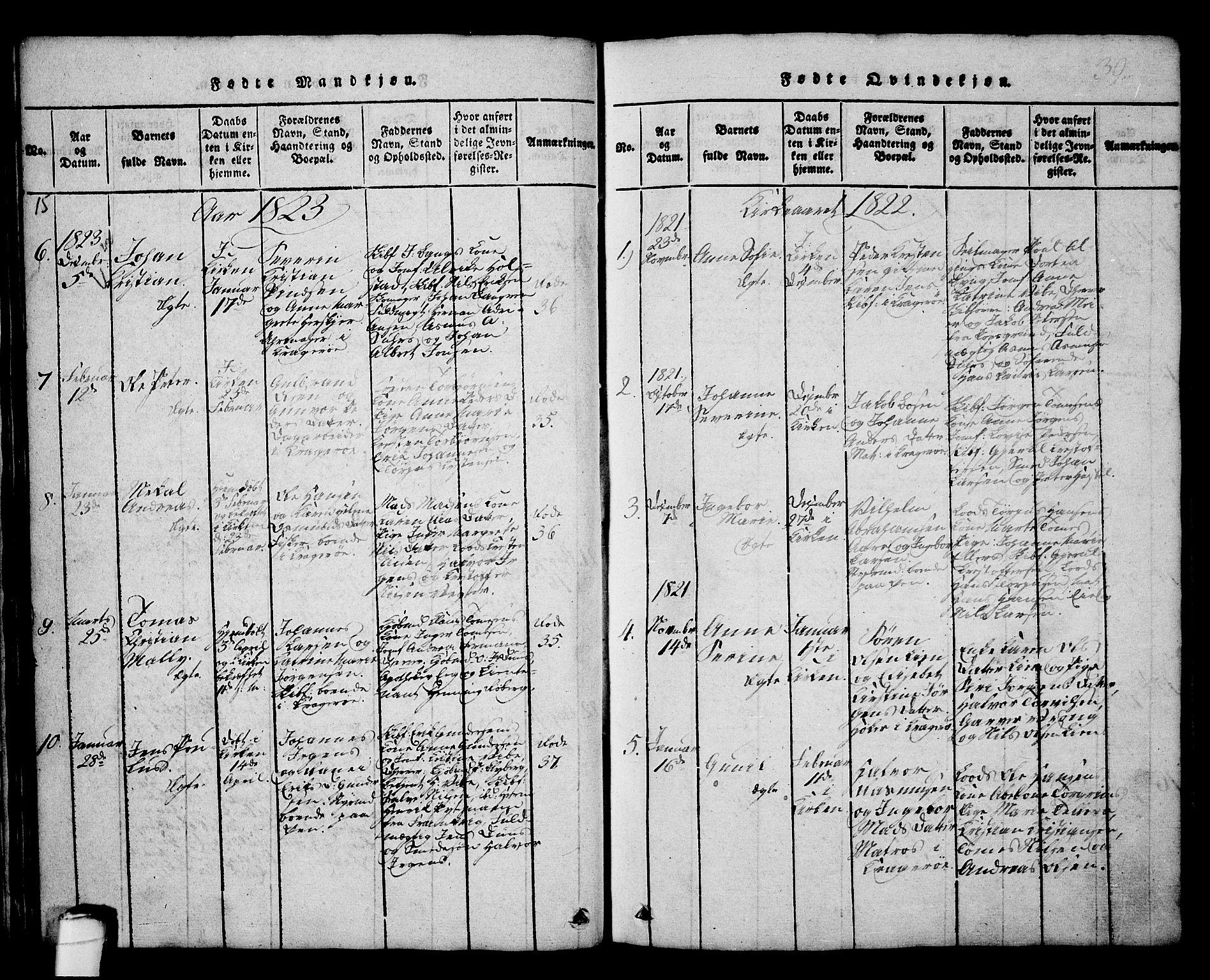 SAKO, Kragerø kirkebøker, G/Ga/L0002: Klokkerbok nr. 2, 1814-1831, s. 39