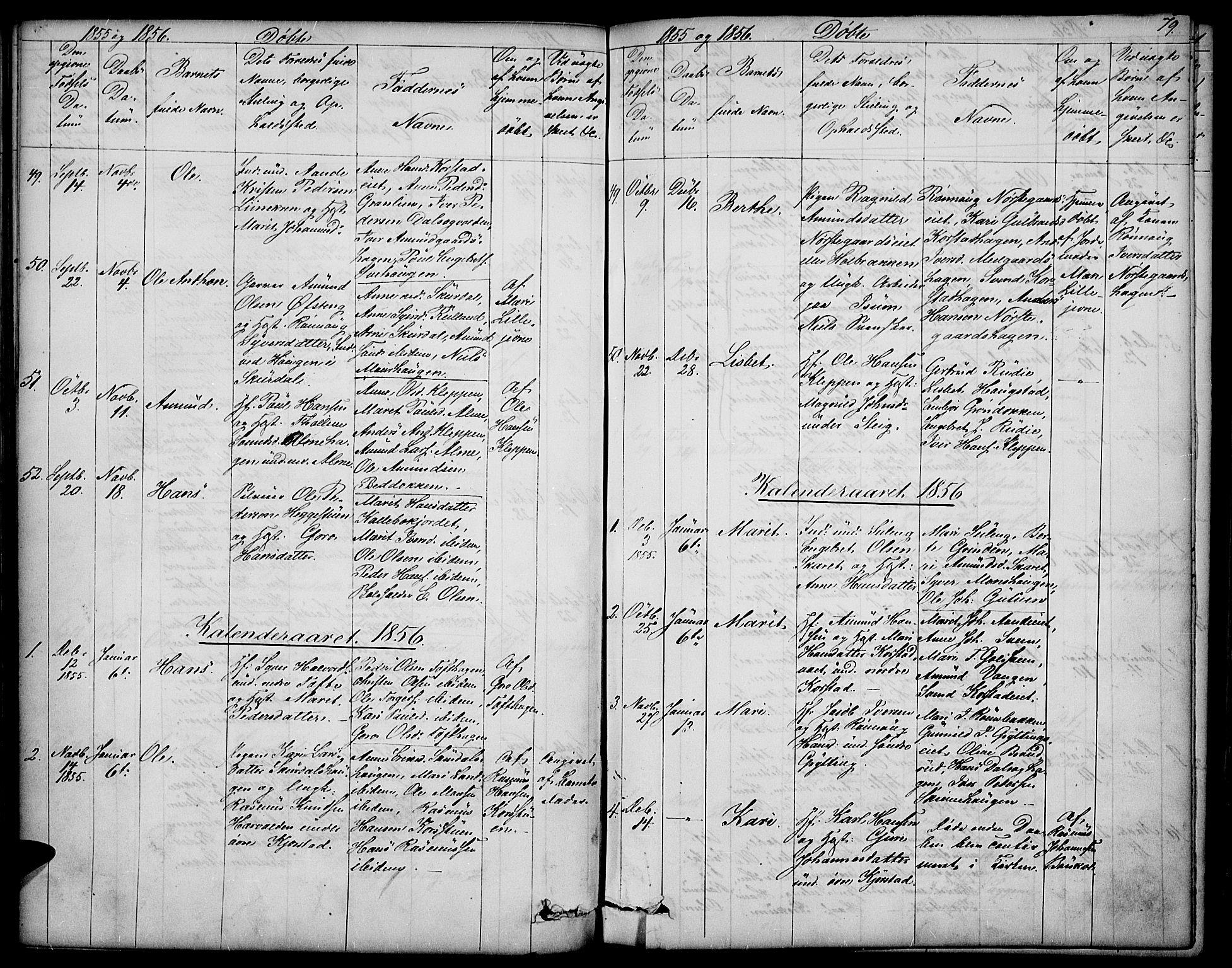 SAH, Sør-Fron prestekontor, H/Ha/Hab/L0001: Klokkerbok nr. 1, 1844-1863, s. 79