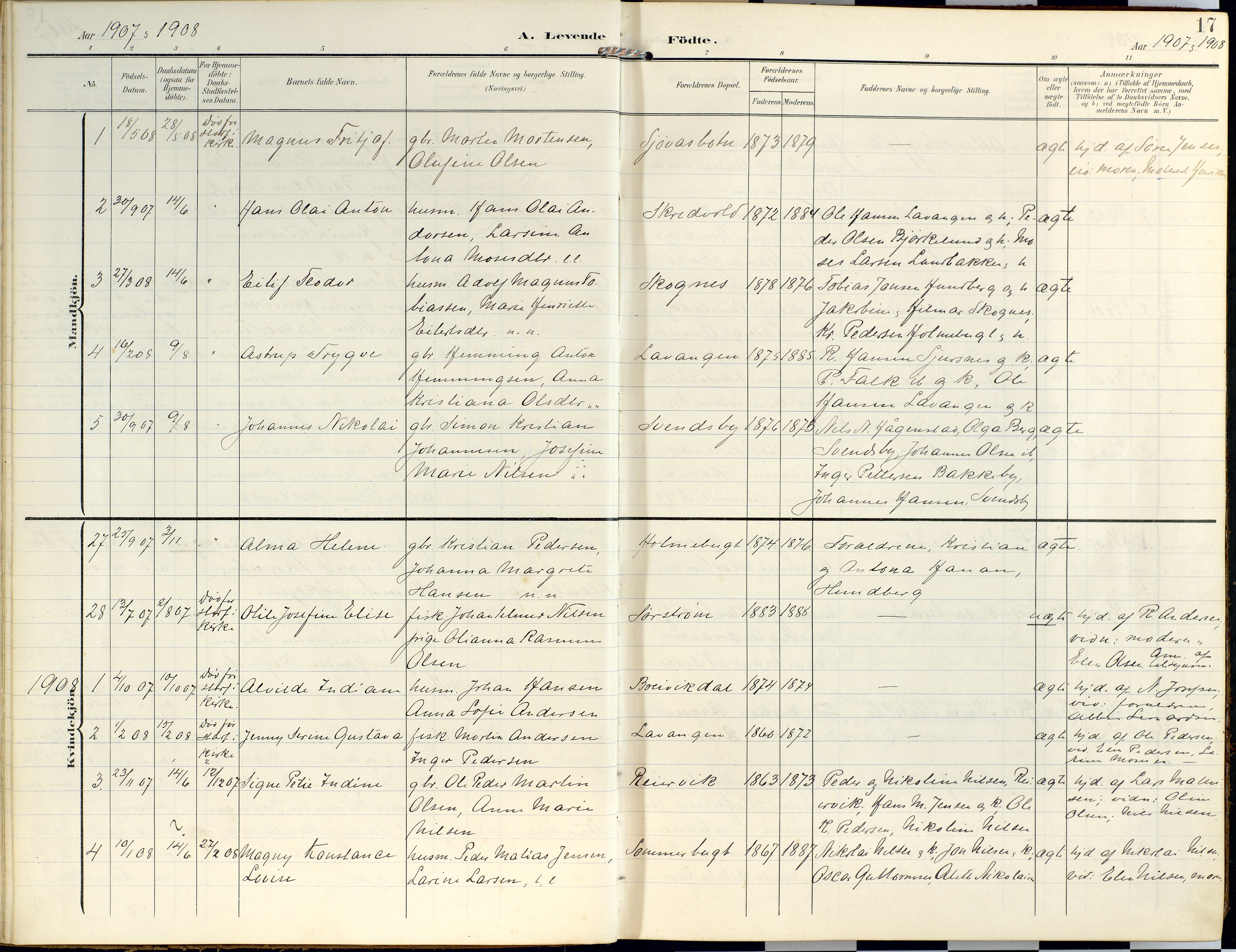 SATØ, Lyngen sokneprestembete, Ministerialbok nr. 14, 1905-1920, s. 17