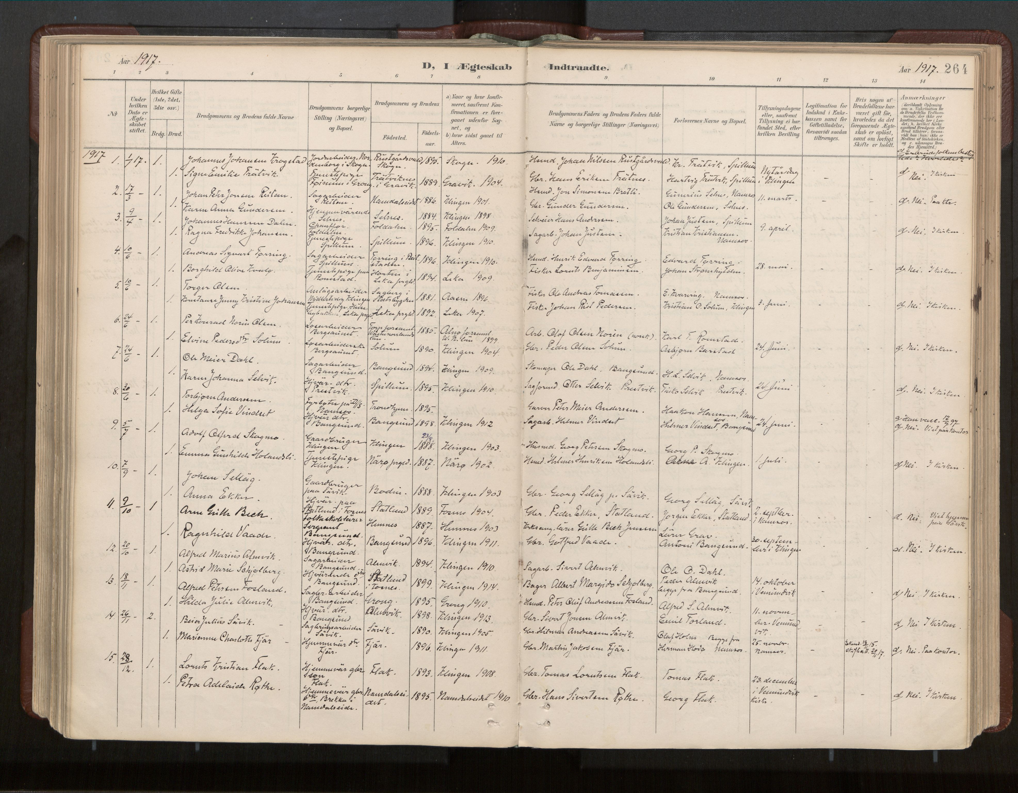 SAT, Ministerialprotokoller, klokkerbøker og fødselsregistre - Nord-Trøndelag, 770/L0589: Ministerialbok nr. 770A03, 1887-1929, s. 264