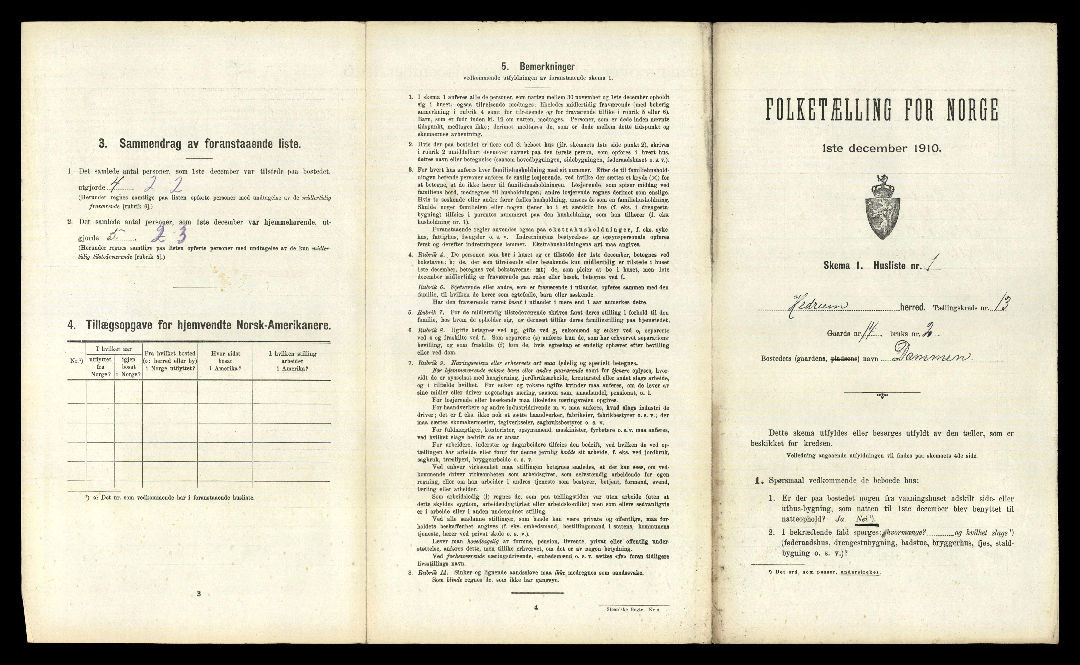 RA, Folketelling 1910 for 0727 Hedrum herred, 1910, s. 1400