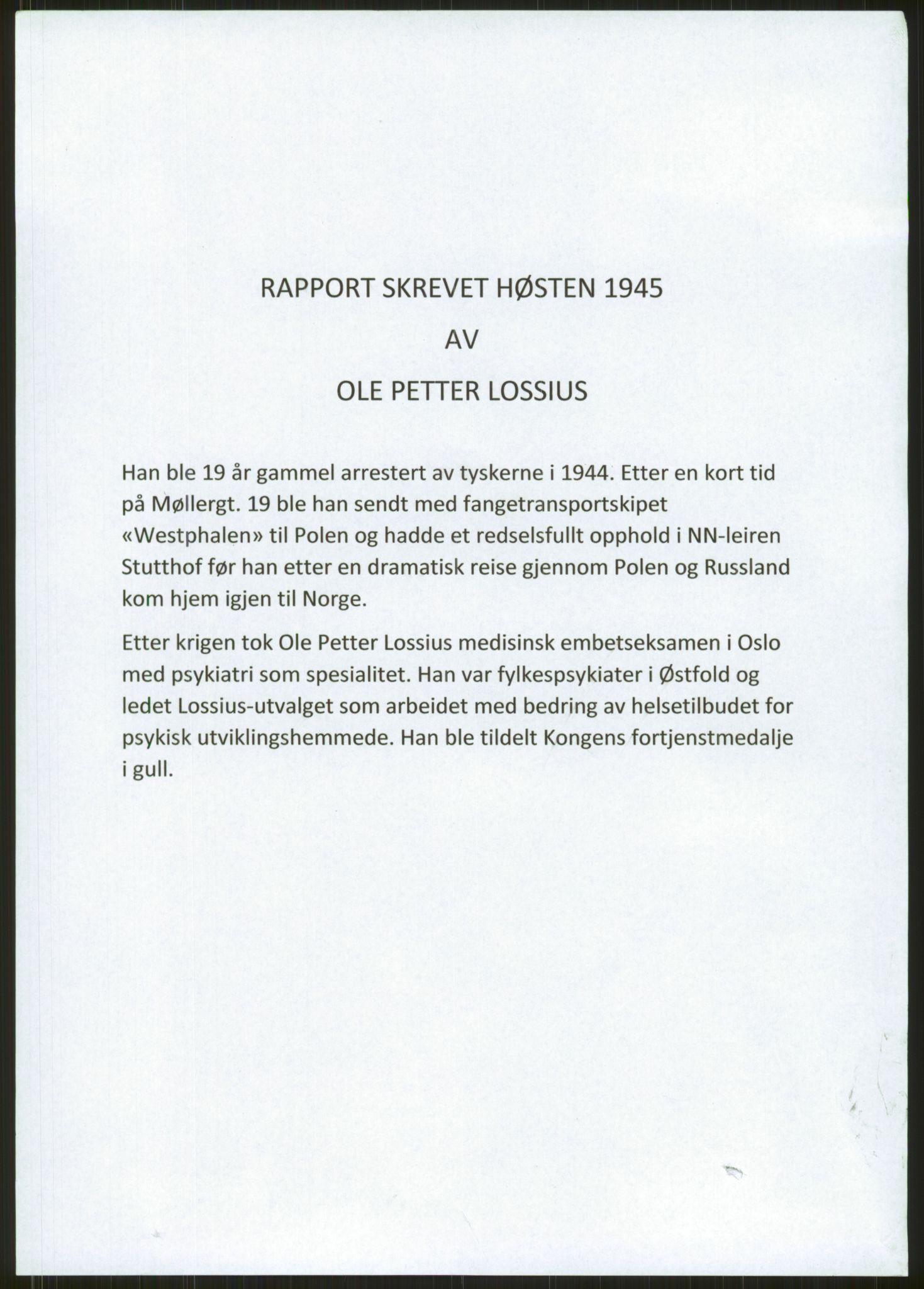 RA, Lossius, Ole-Petter, F/L0001: O.P. Lossius manus med erindringer om krigsfangenskap i Tyskland, evakuering og hjemreise via Polen og Russland., 1944-1945, s. 1