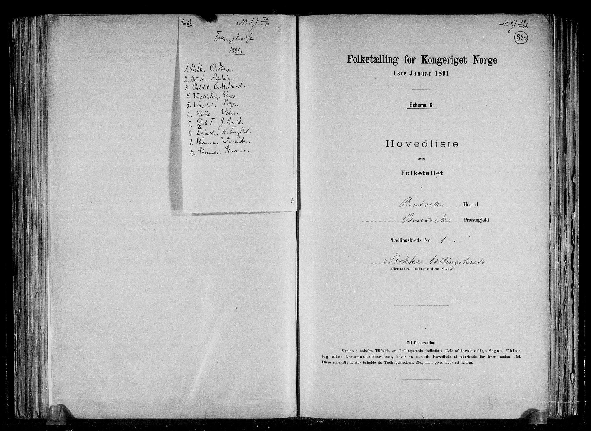 RA, Folketelling 1891 for 1251 Bruvik herred, 1891, s. 5