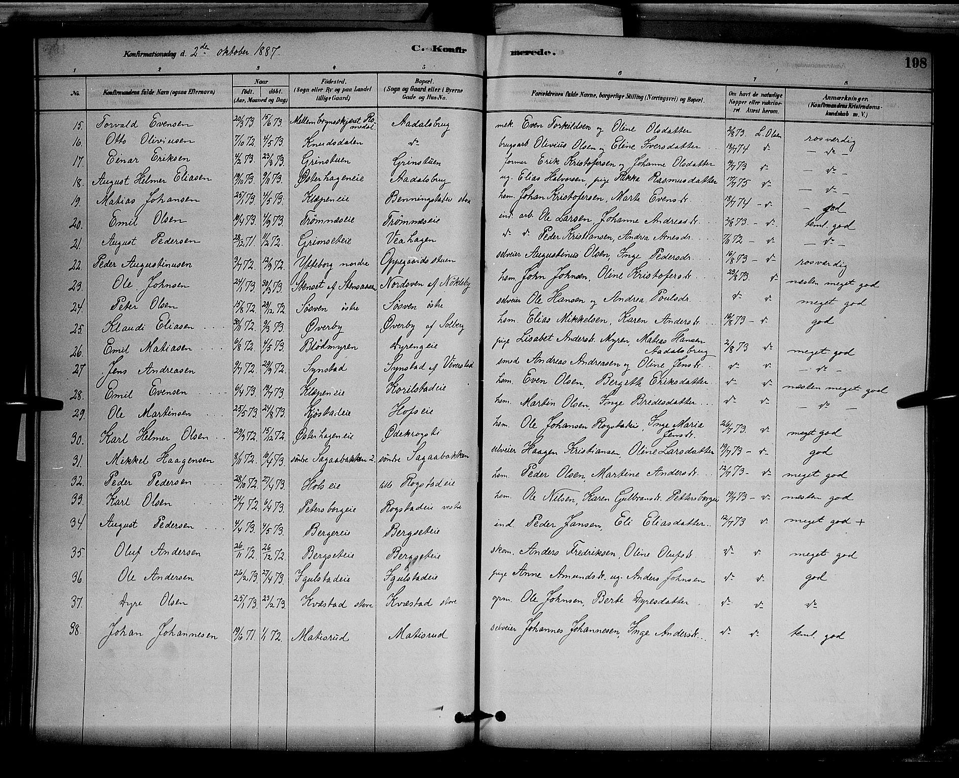 SAH, Løten prestekontor, L/La/L0005: Klokkerbok nr. 5, 1878-1891, s. 198