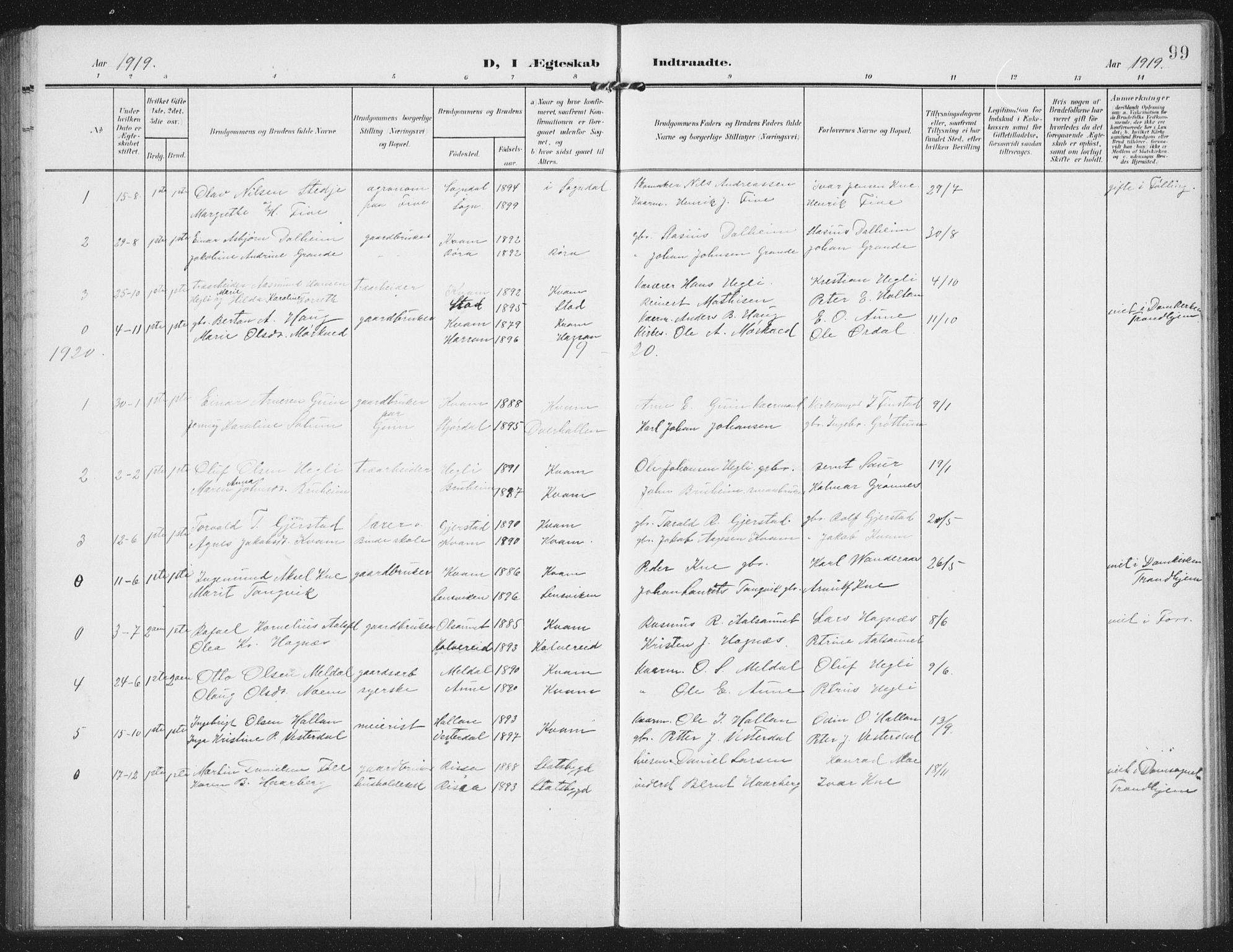 SAT, Ministerialprotokoller, klokkerbøker og fødselsregistre - Nord-Trøndelag, 747/L0460: Klokkerbok nr. 747C02, 1908-1939, s. 99