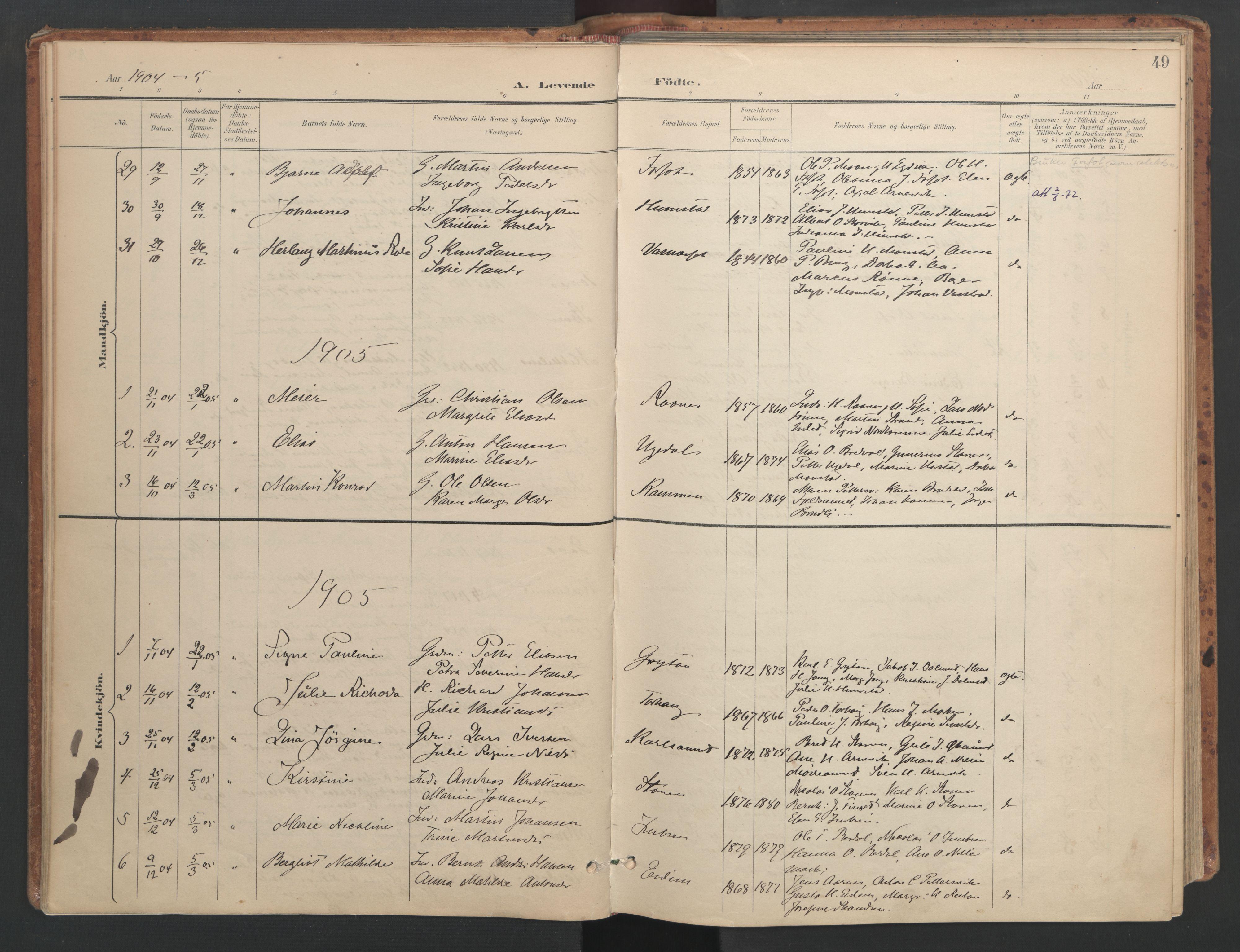 SAT, Ministerialprotokoller, klokkerbøker og fødselsregistre - Sør-Trøndelag, 655/L0681: Ministerialbok nr. 655A10, 1895-1907, s. 49