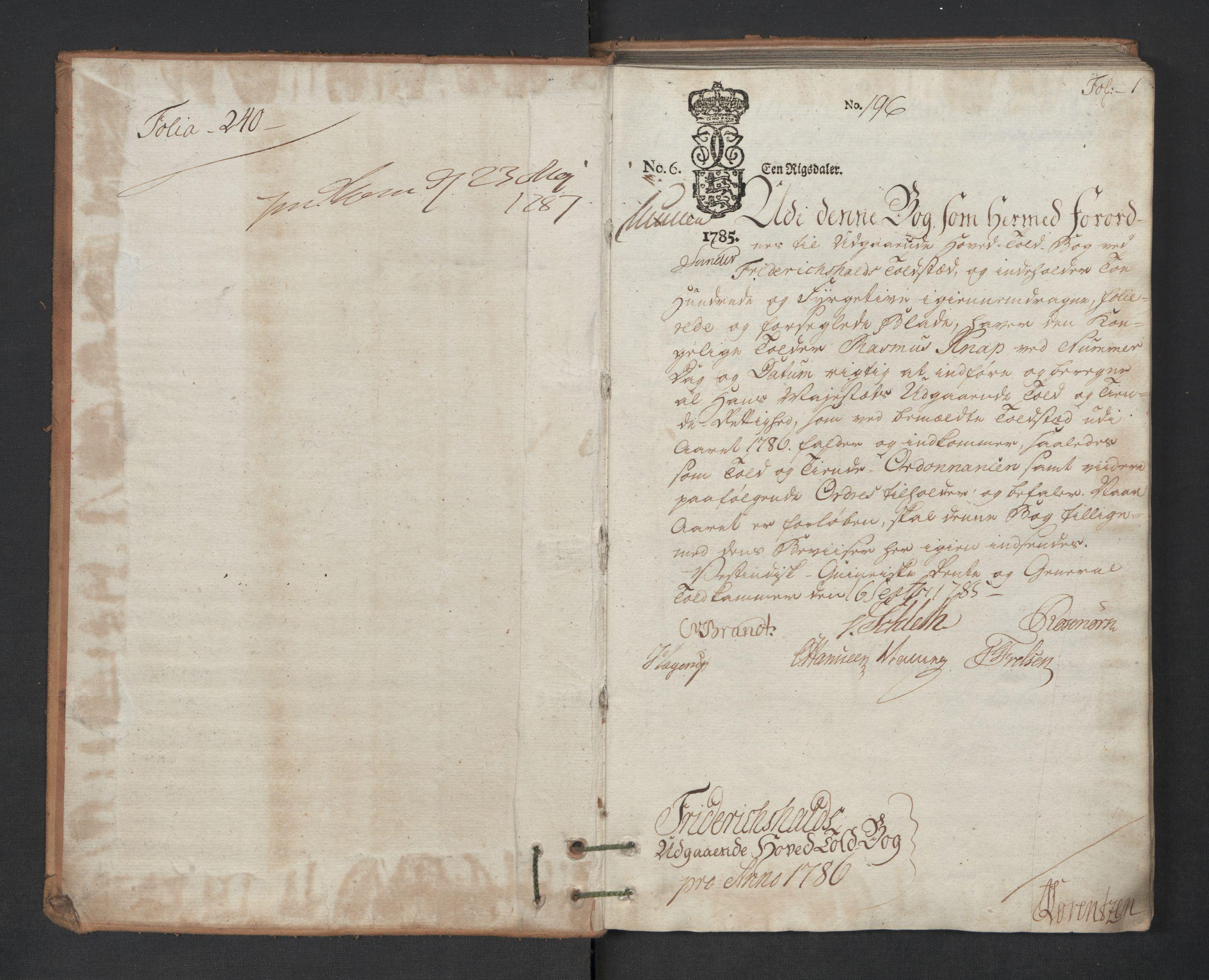 RA, Generaltollkammeret, tollregnskaper, R01/L0131: Tollregnskaper Fredrikshald, 1786, s. 1a