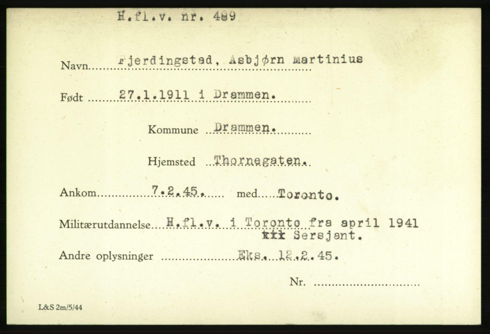 NHM, Forsvarets Overkommando. 2. kontor. Arkiv 8.1. Mottakersentralen FDE og FO.II, P/Pa/L0006: Kortsamling, 1940-1945, s. 1