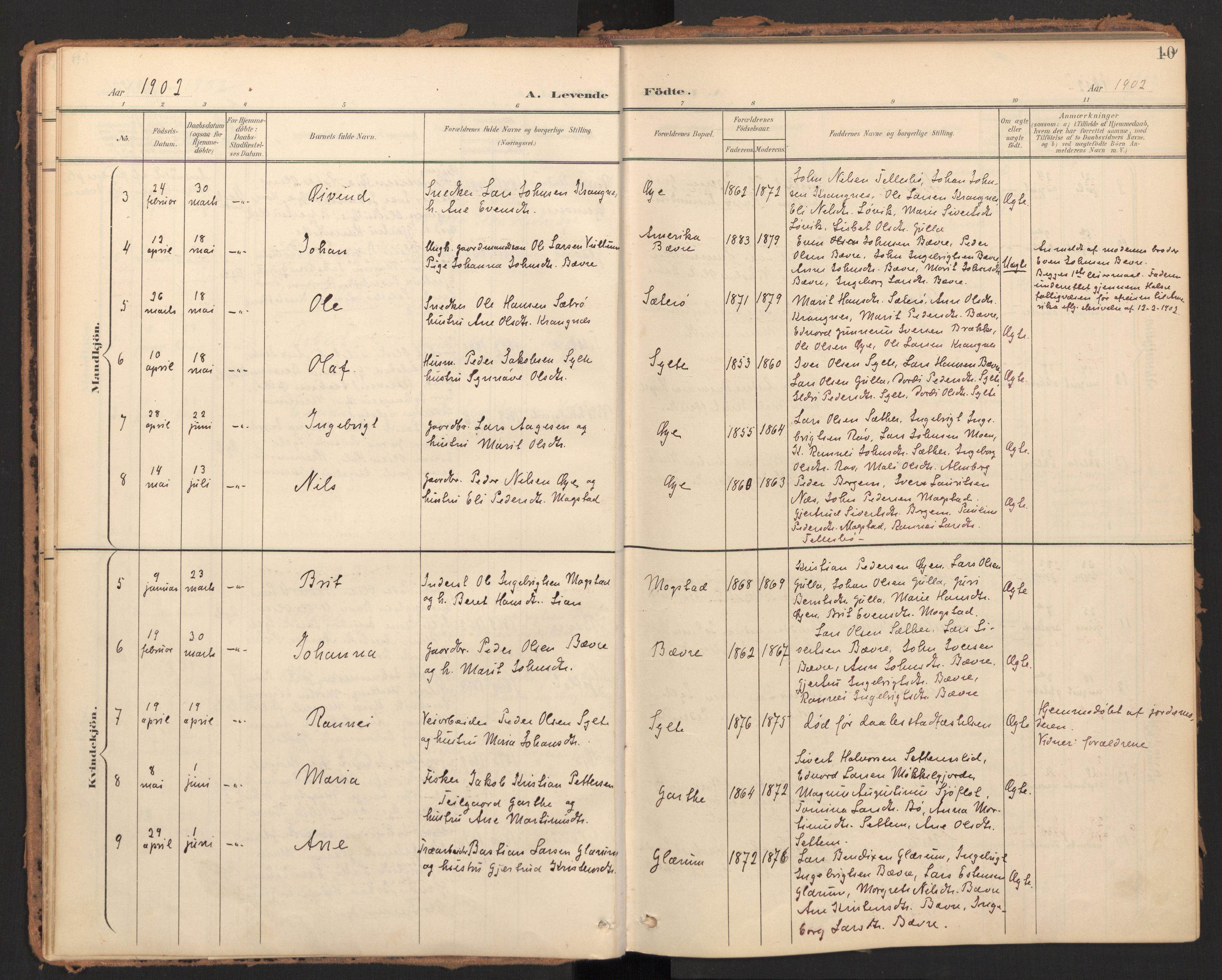 SAT, Ministerialprotokoller, klokkerbøker og fødselsregistre - Møre og Romsdal, 595/L1048: Ministerialbok nr. 595A10, 1900-1917, s. 10