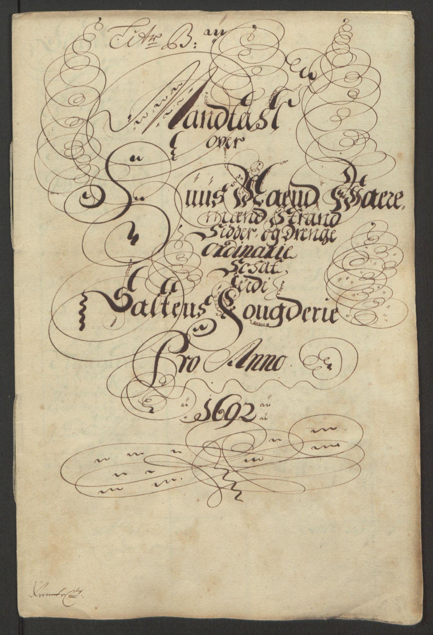 RA, Rentekammeret inntil 1814, Reviderte regnskaper, Fogderegnskap, R66/L4577: Fogderegnskap Salten, 1691-1693, s. 165