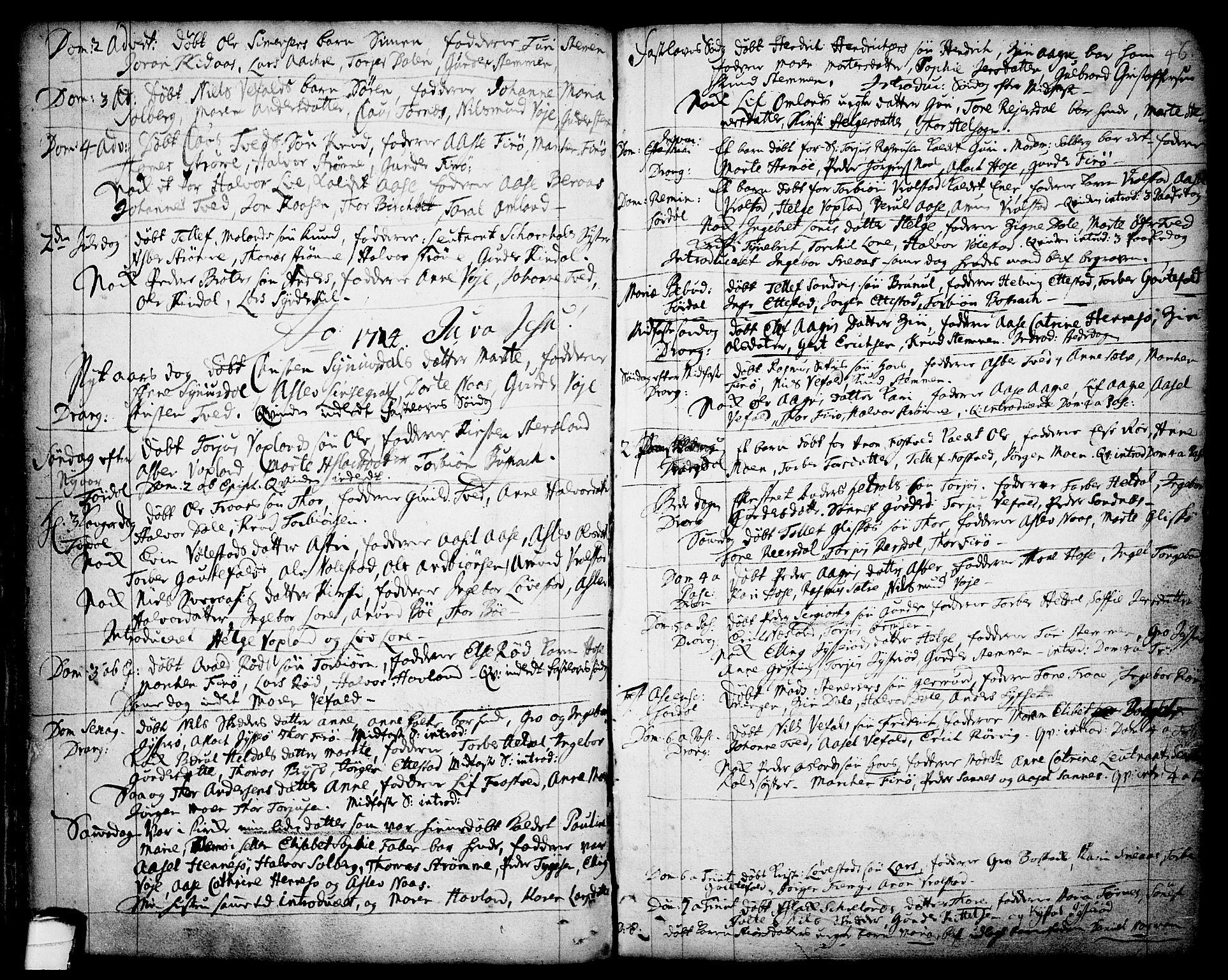 SAKO, Drangedal kirkebøker, F/Fa/L0001: Ministerialbok nr. 1, 1697-1767, s. 46