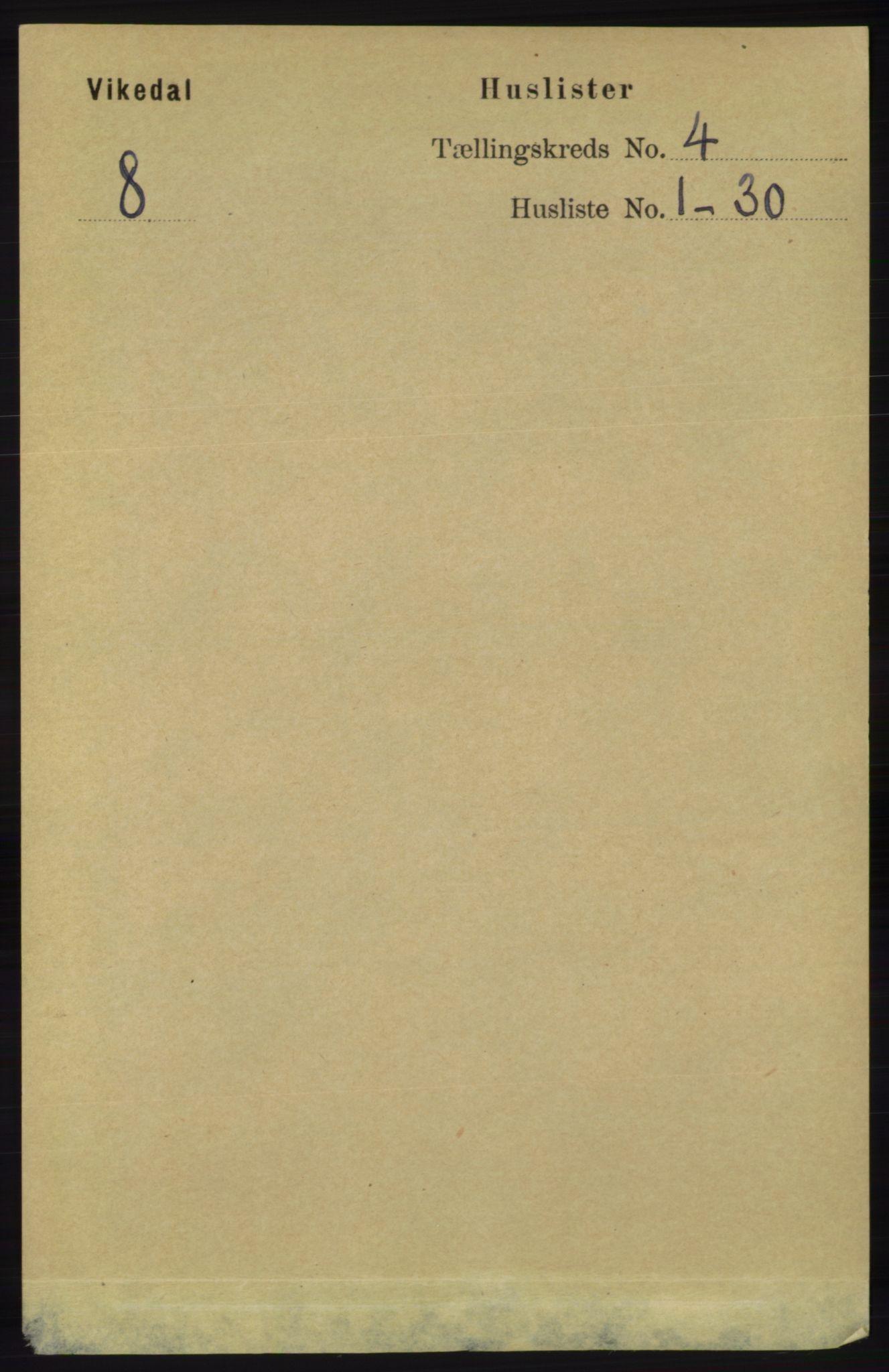 RA, Folketelling 1891 for 1157 Vikedal herred, 1891, s. 896
