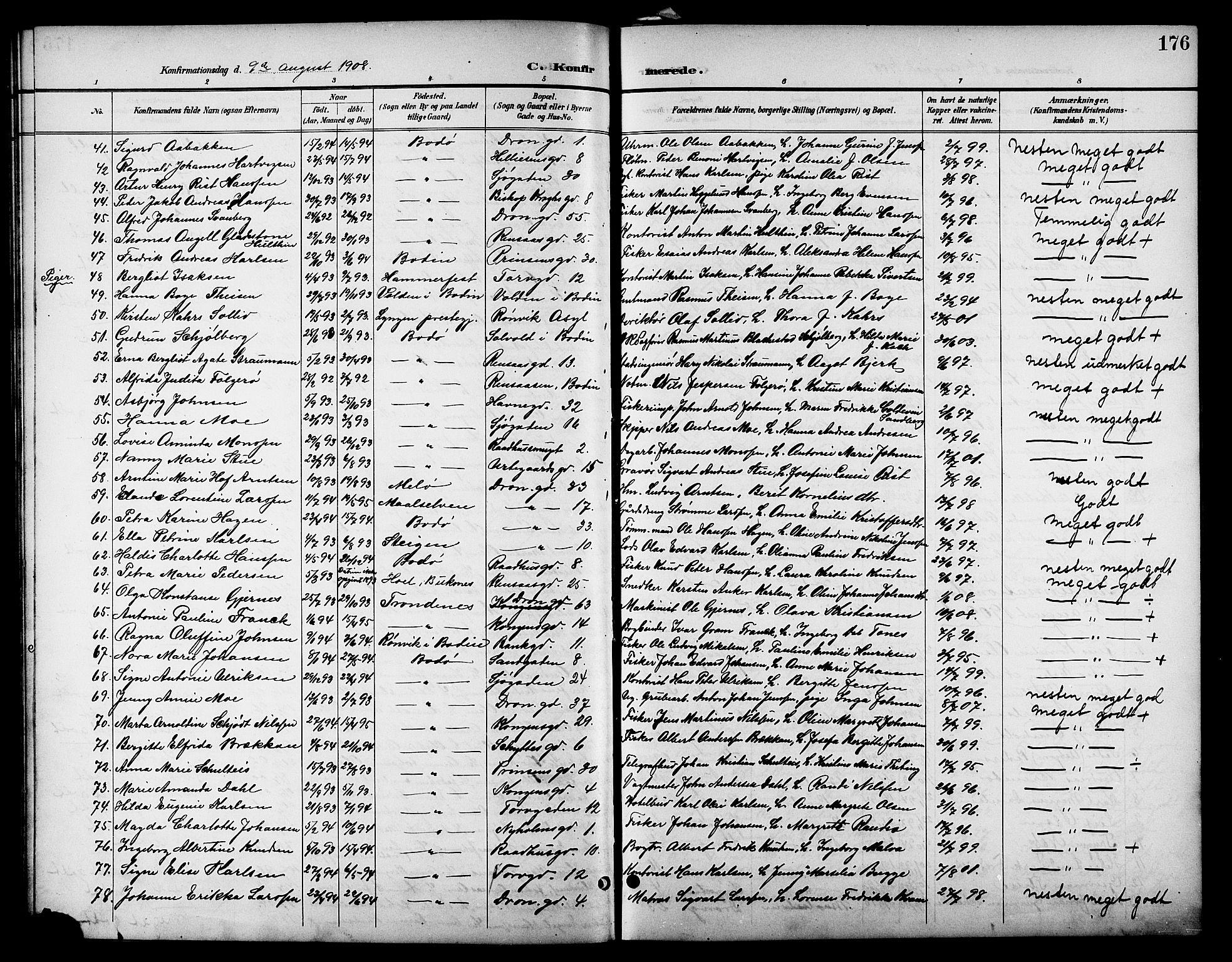 SAT, Ministerialprotokoller, klokkerbøker og fødselsregistre - Nordland, 801/L0033: Klokkerbok nr. 801C08, 1898-1910, s. 176