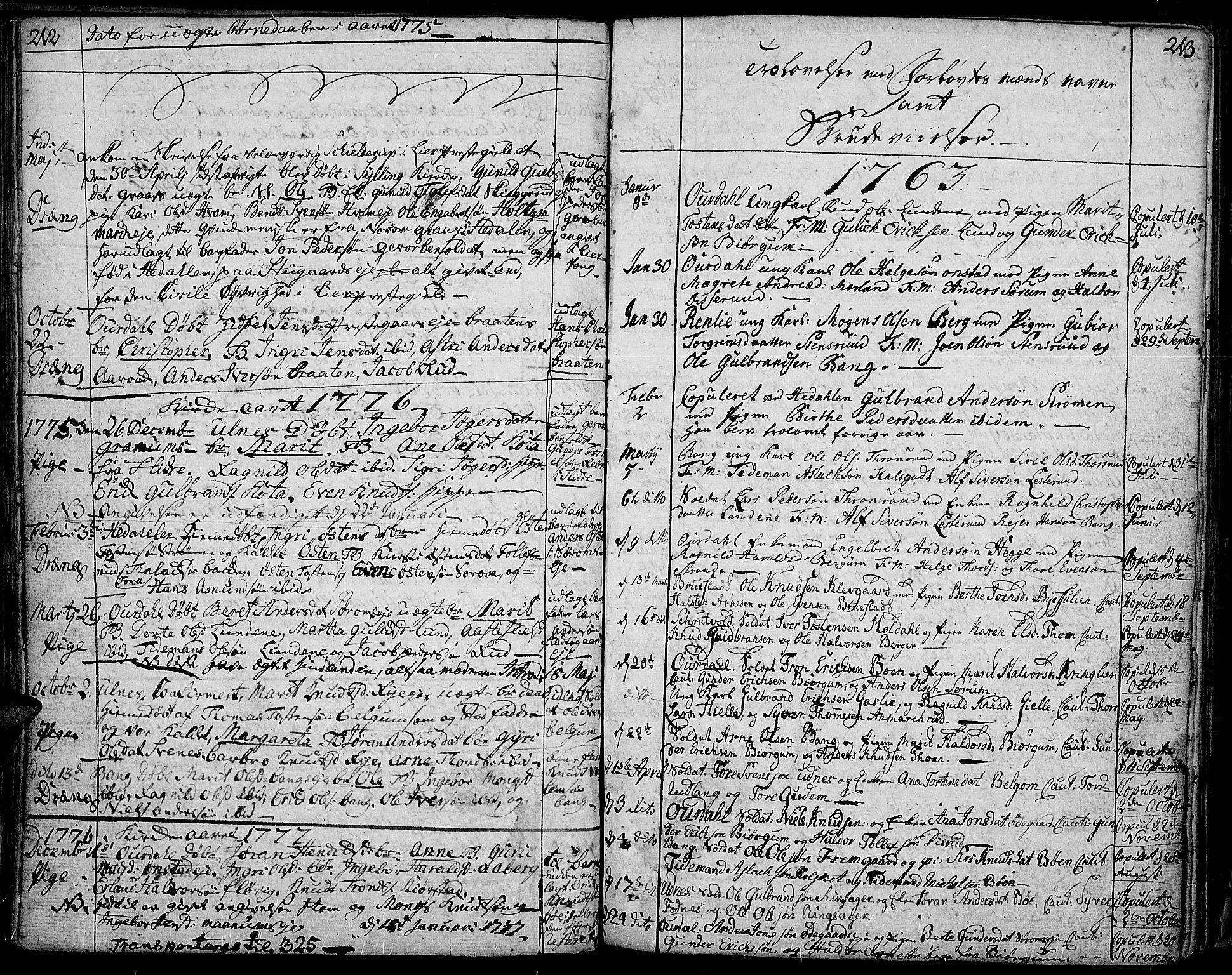 SAH, Aurdal prestekontor, Ministerialbok nr. 5, 1763-1781, s. 212-213