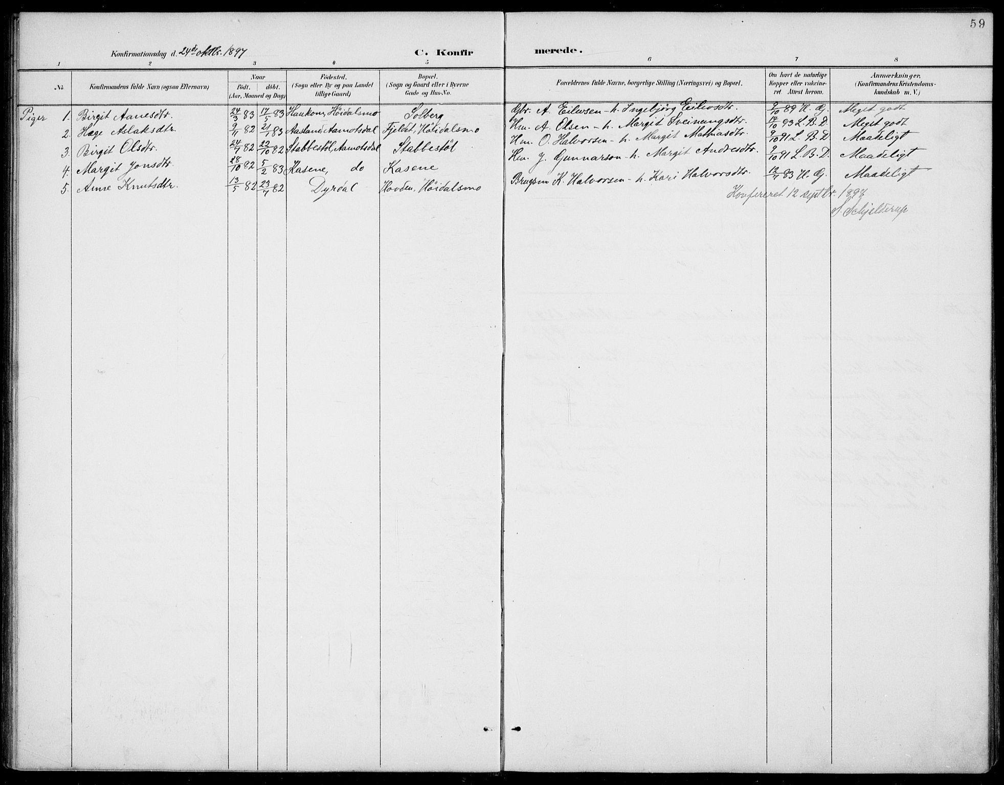 SAKO, Rauland kirkebøker, G/Gb/L0002: Klokkerbok nr. II 2, 1887-1937, s. 59
