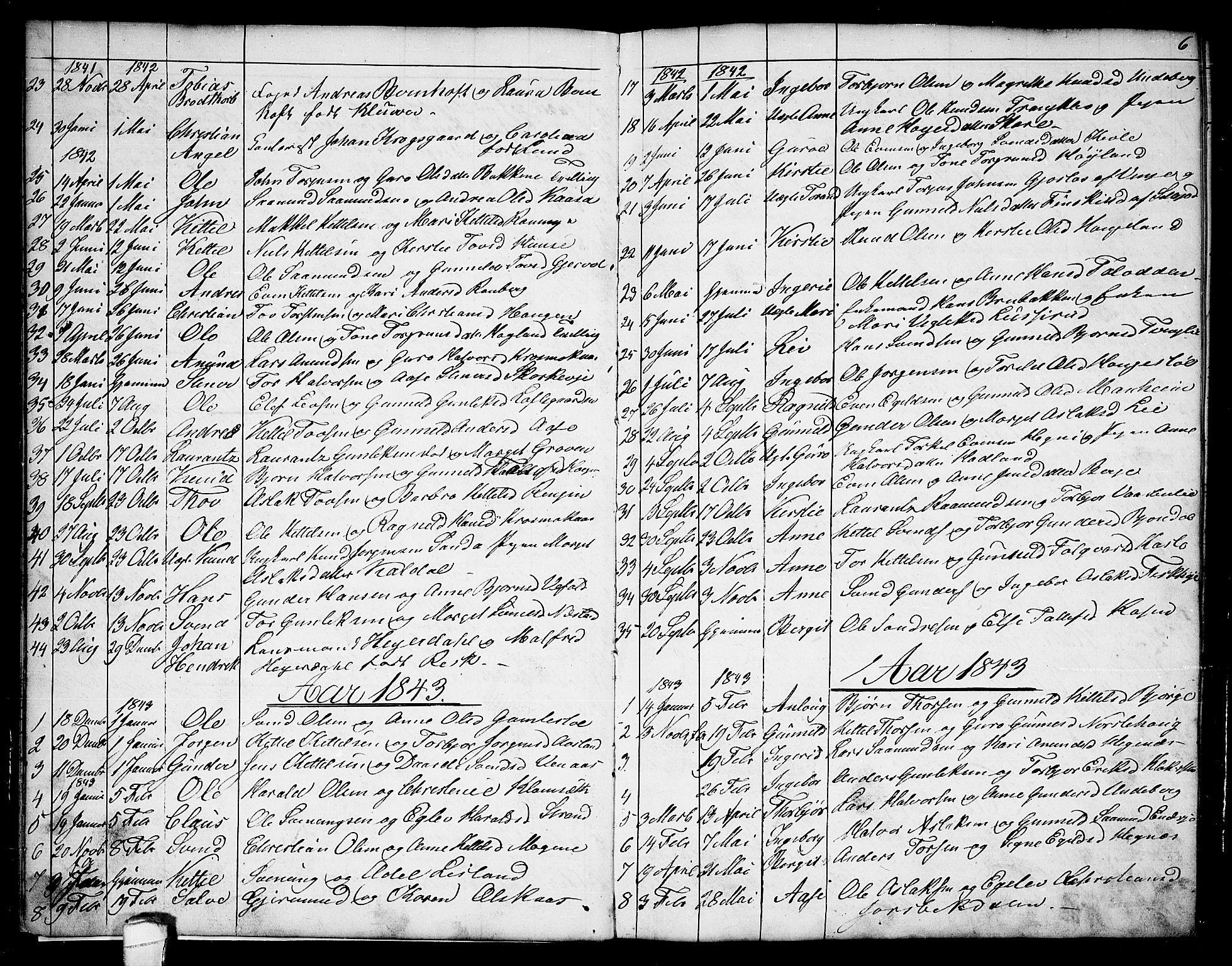 SAKO, Seljord kirkebøker, G/Ga/L0002: Klokkerbok nr. I 2, 1838-1866, s. 6