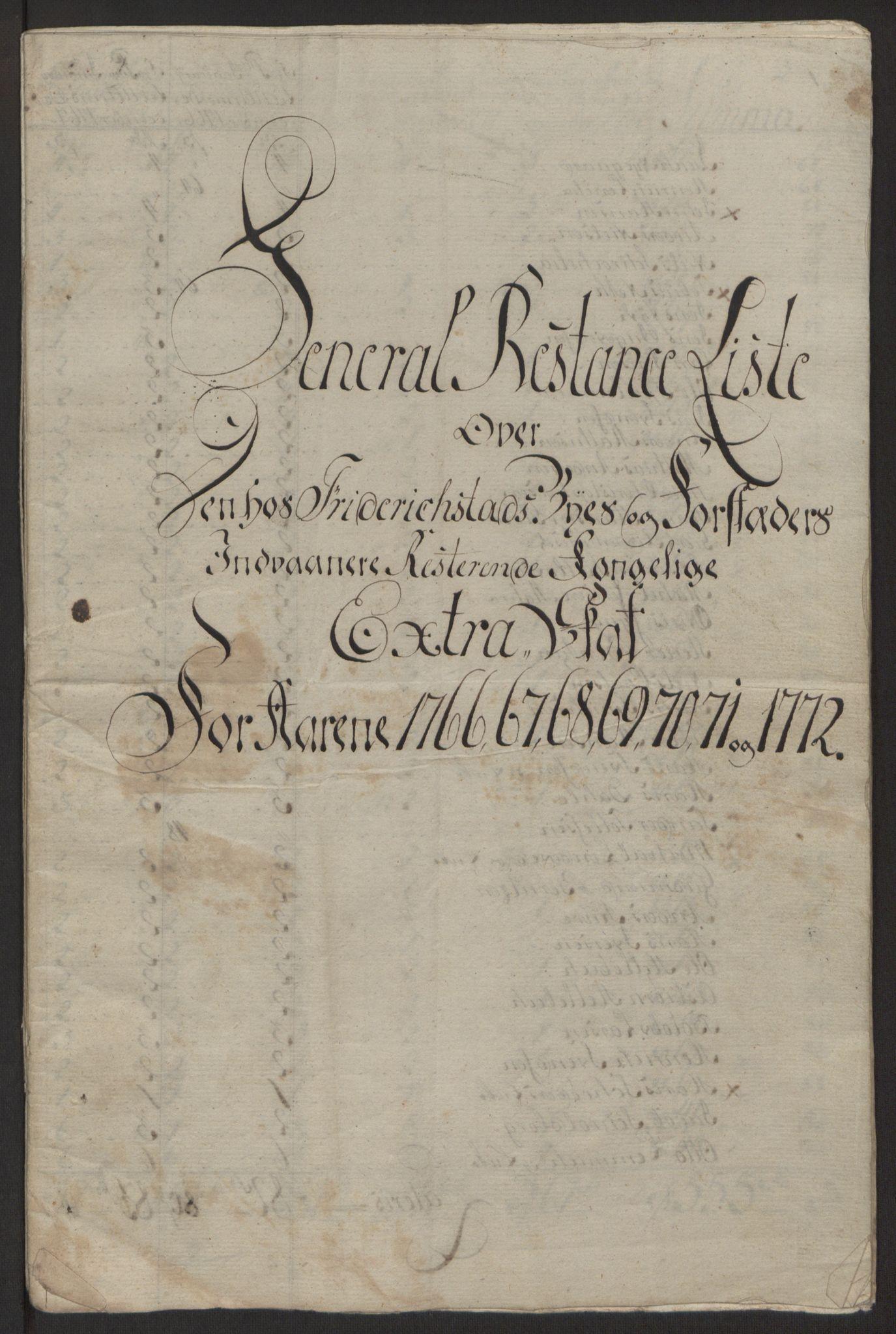 RA, Rentekammeret inntil 1814, Reviderte regnskaper, Byregnskaper, R/Rb/L0029: [B3] Kontribusjonsregnskap, 1762-1772, s. 429