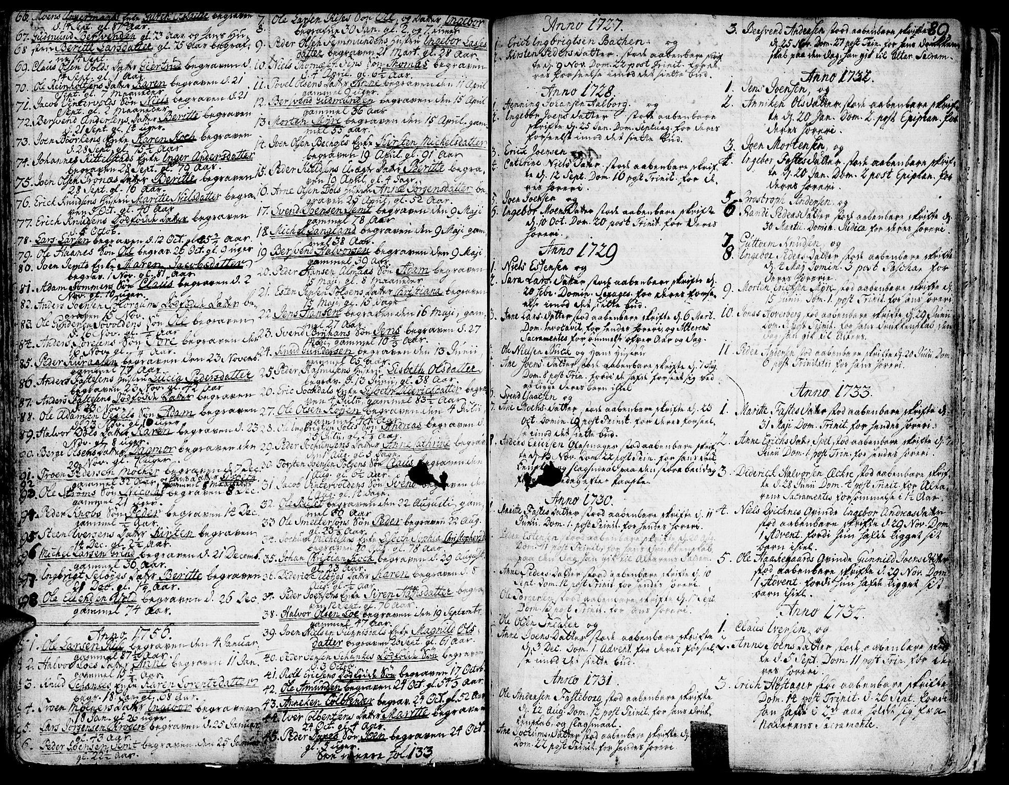 SAT, Ministerialprotokoller, klokkerbøker og fødselsregistre - Sør-Trøndelag, 681/L0925: Ministerialbok nr. 681A03, 1727-1766, s. 89