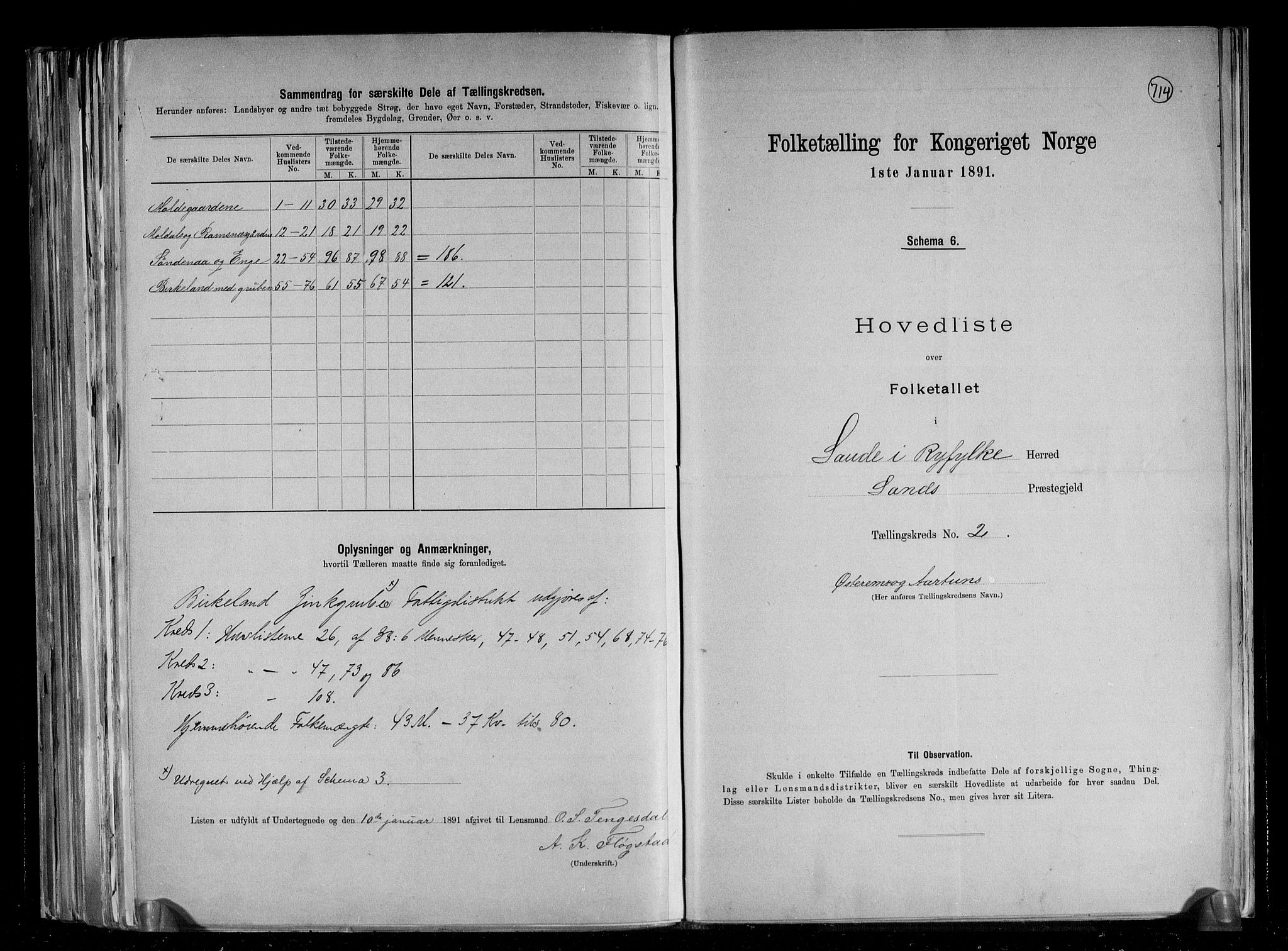 RA, Folketelling 1891 for 1135 Sauda herred, 1891, s. 6
